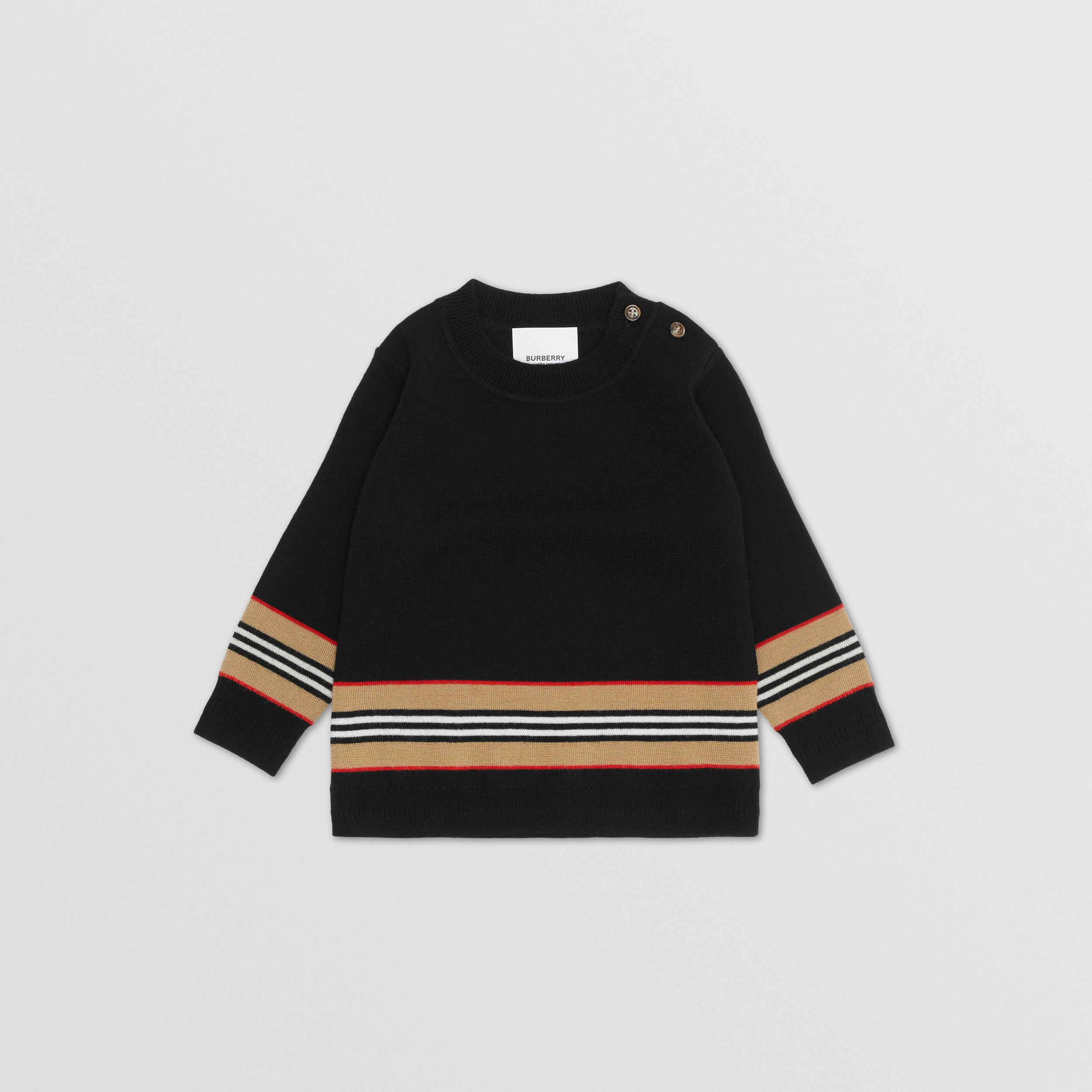 Icon Stripe Panel Merino Wool Sweater - Children | Burberry - 1