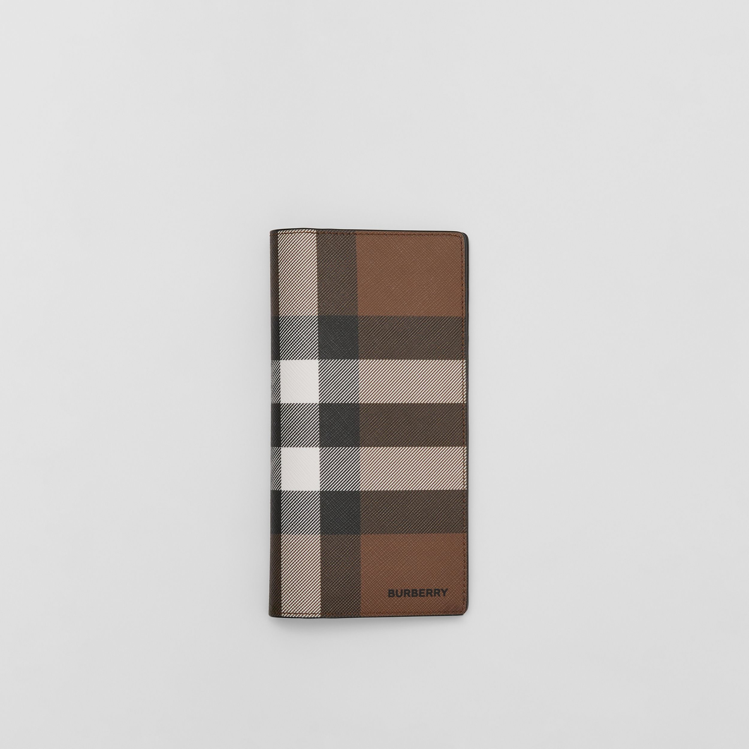 Check E-canvas Continental Wallet in Dark Birch Brown - Men | Burberry - 1