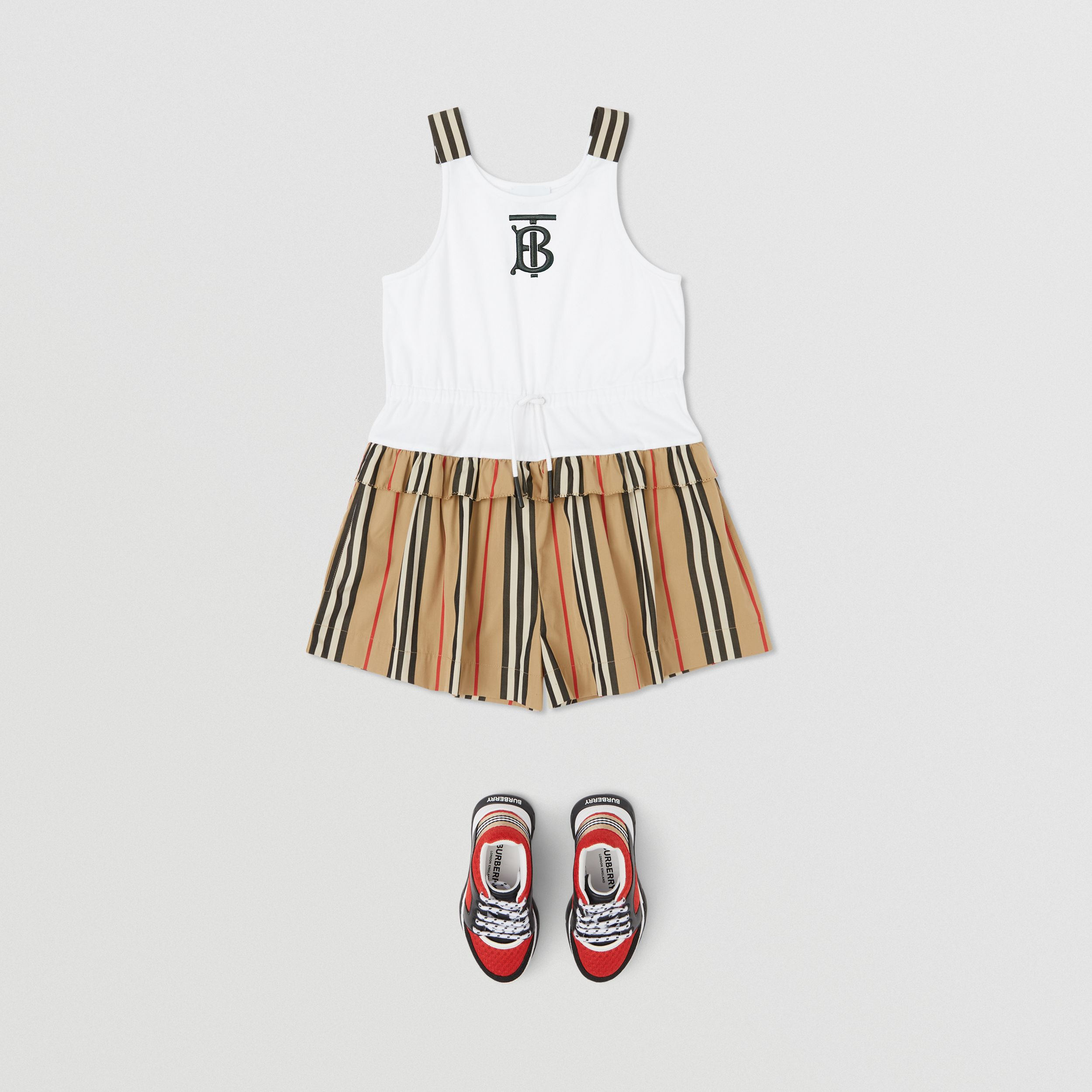 Monogram Motif Icon Stripe Detail Cotton Playsuit in Archive Beige | Burberry United Kingdom - 3