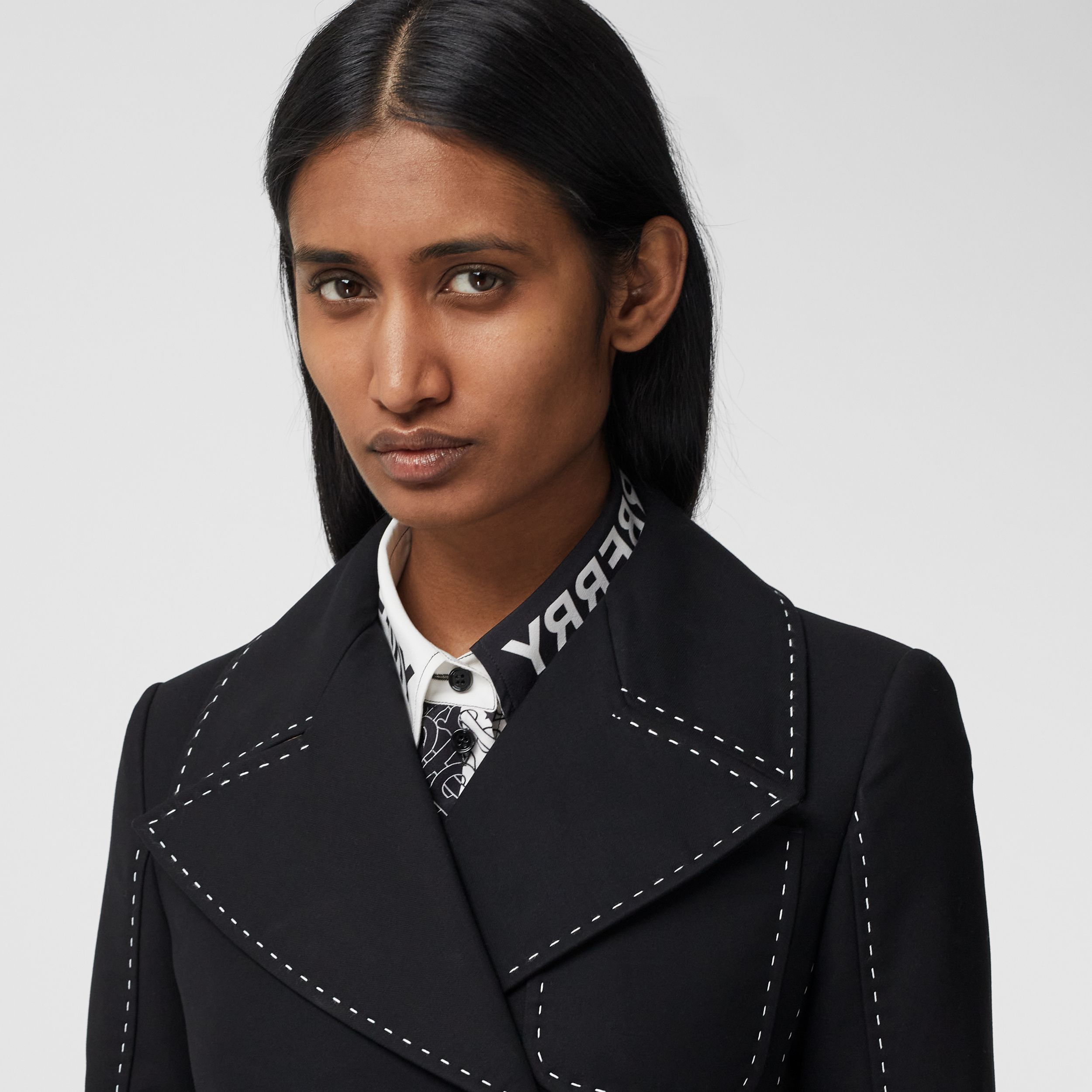 Topstitched Cotton Pea Coat in Black - Women | Burberry - 2