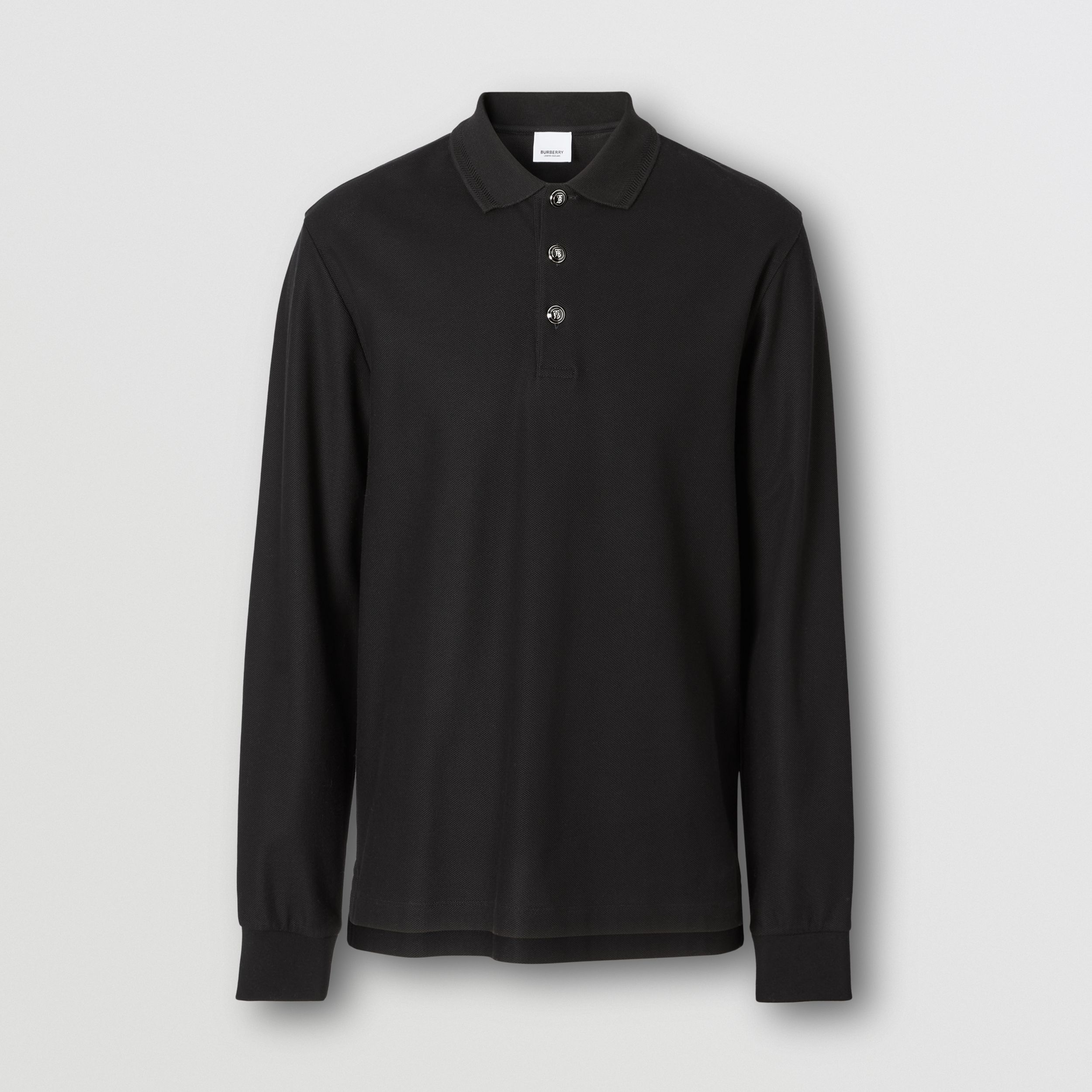 Long-sleeve Cotton Piqué Polo Shirt in Black - Men | Burberry Hong Kong S.A.R. - 4