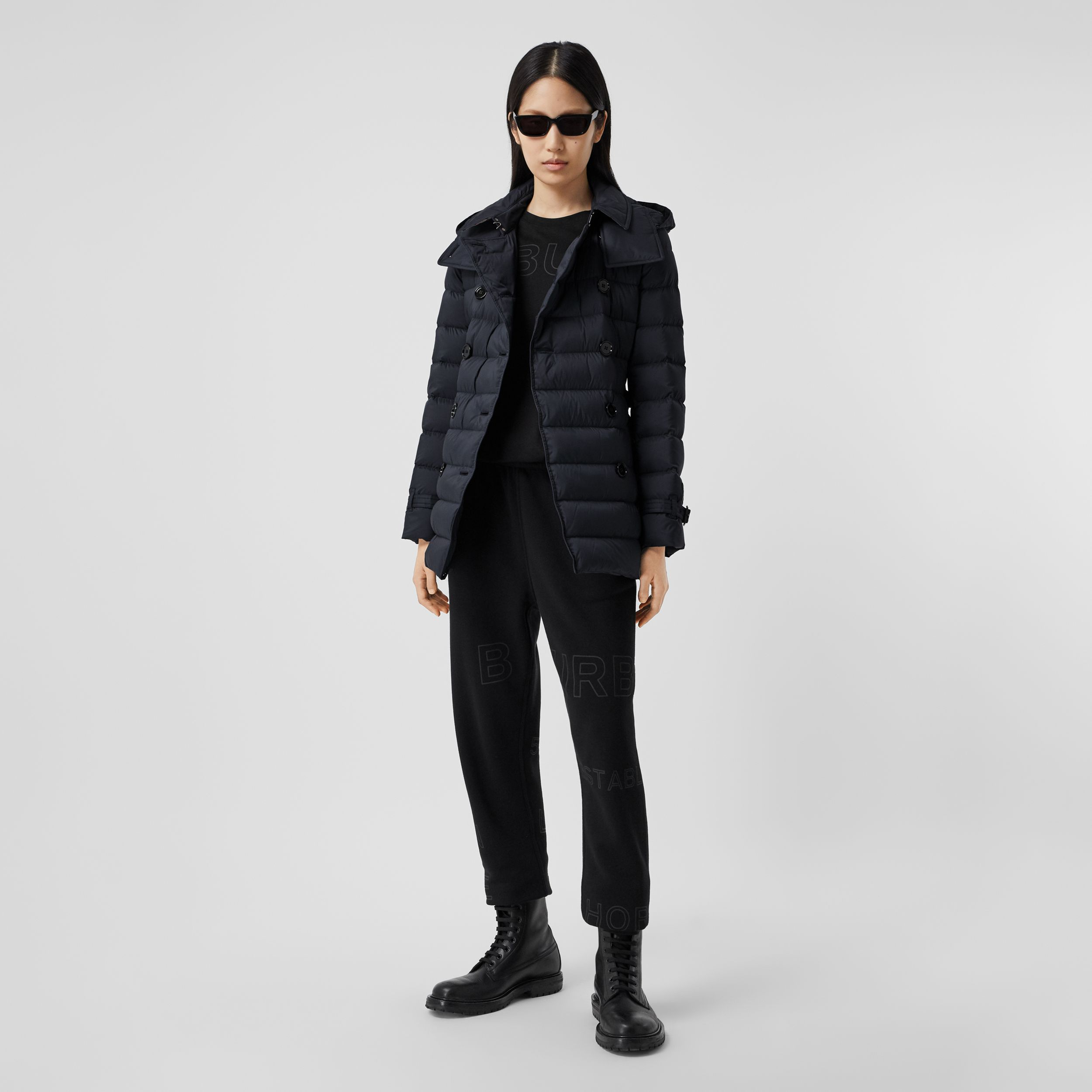Logo Appliqué Detachable Hood Puffer Coat in Midnight Blue - Women | Burberry - 1