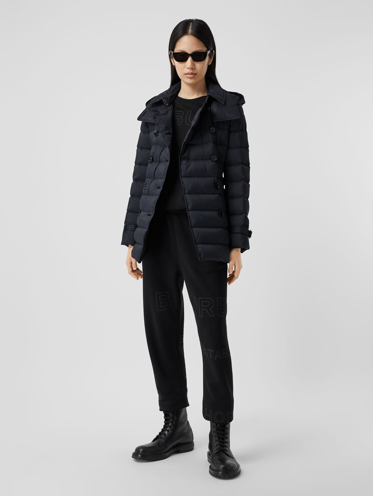 Logo Appliqué Detachable Hood Puffer Coat in Midnight Blue