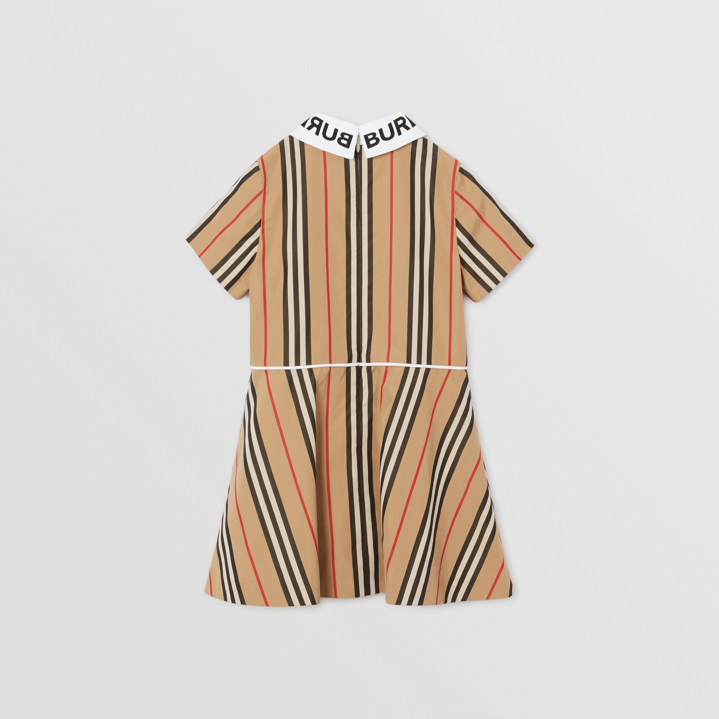 Logo Print Icon Stripe Cotton Poplin Dress in Archive Beige | Burberry Hong Kong S.A.R. - 3