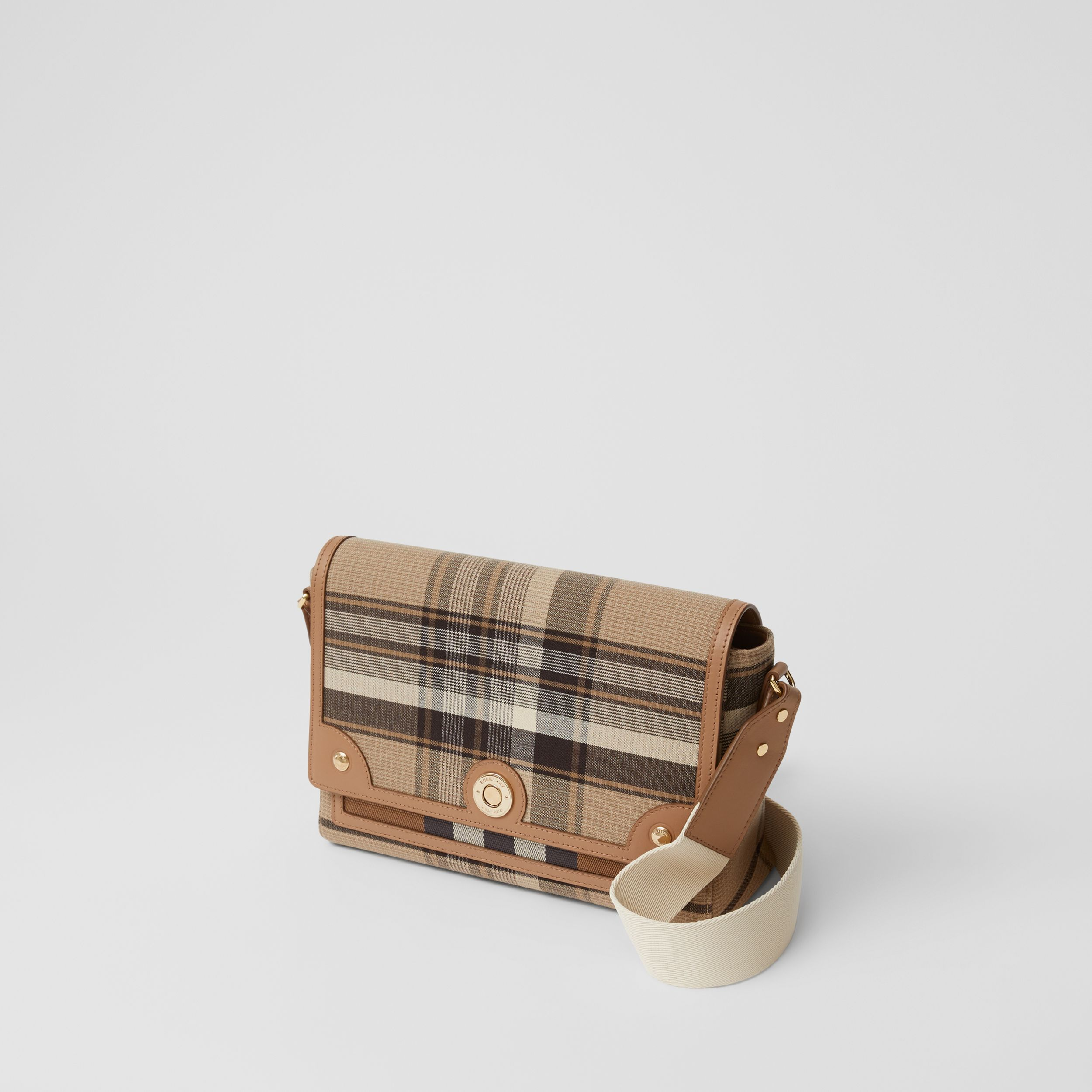 Tartan Wool Note Crossbody Bag in Light Fawn - Women | Burberry - 3
