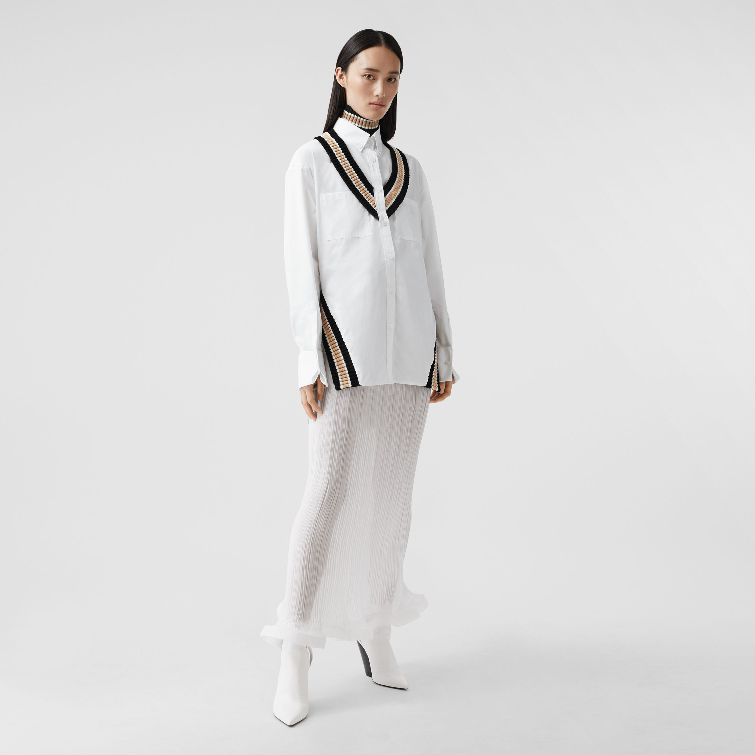 Rib Knit Cricket Stripe Cotton Oversized Shirt in Optic White - Women | Burberry - 1