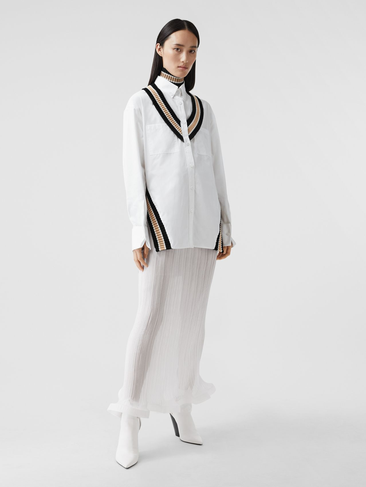 Rib Knit Cricket Stripe Cotton Oversized Shirt in Optic White