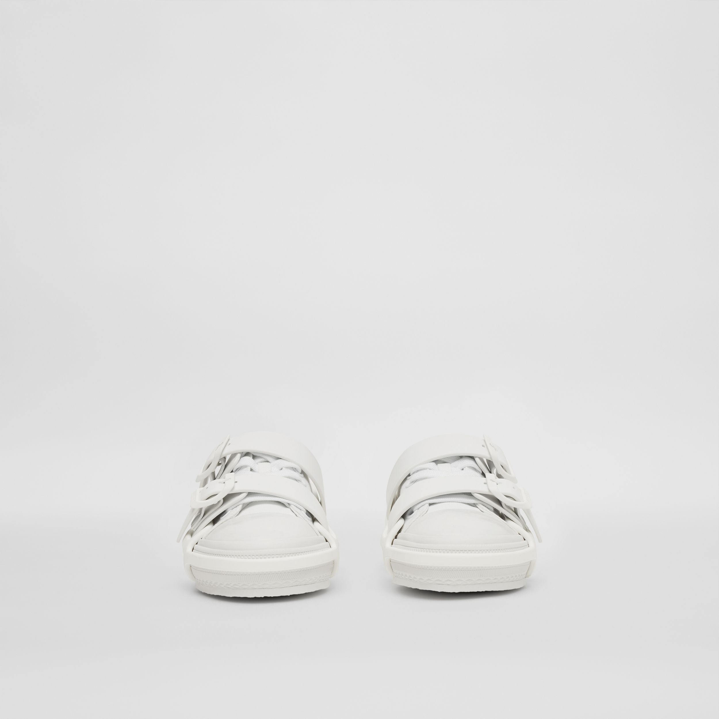 Cotton and Leather Webb Sneakers in White - Women | Burberry Canada - 3