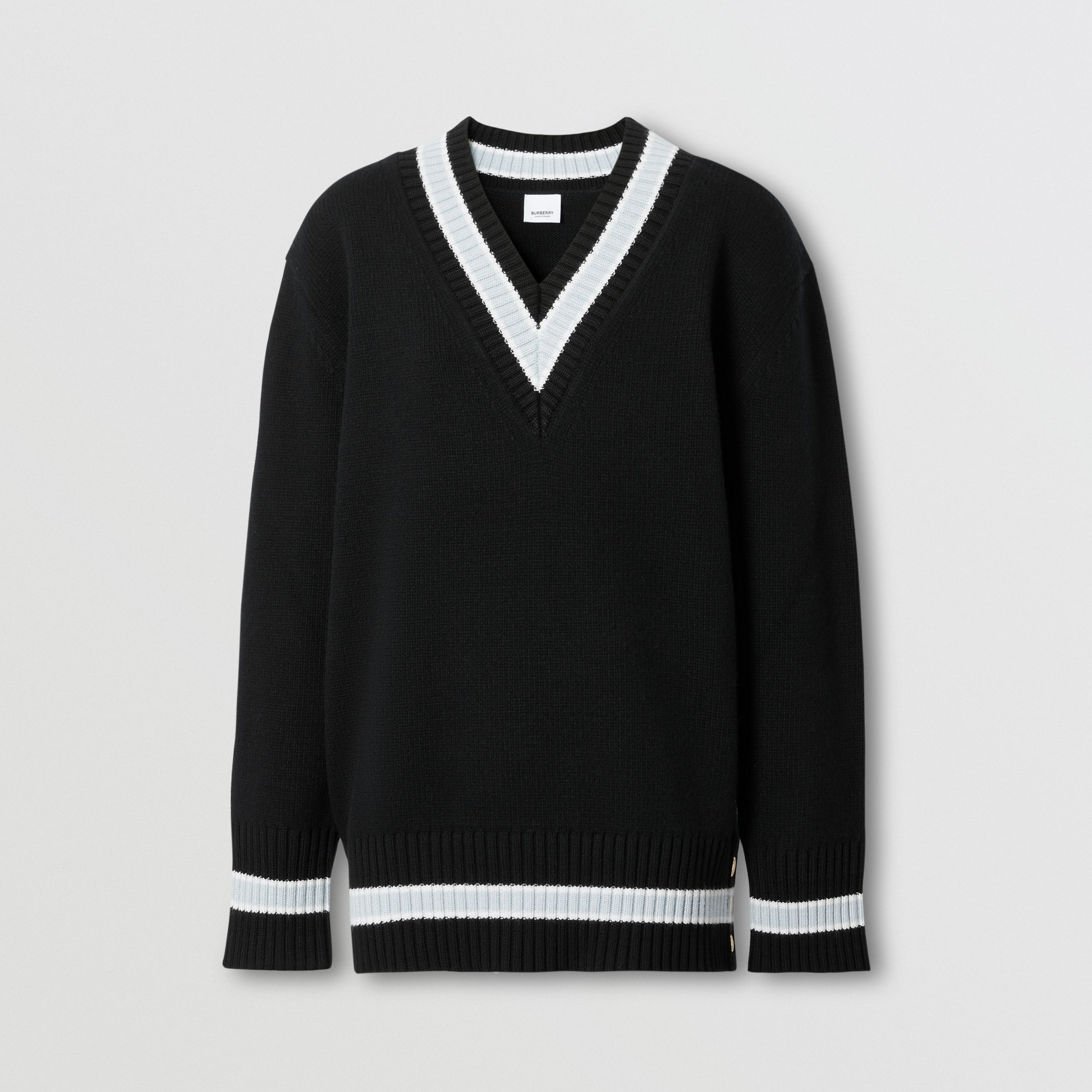 Wool Oversized Cricket Sweater in Black - Women | Burberry - 4