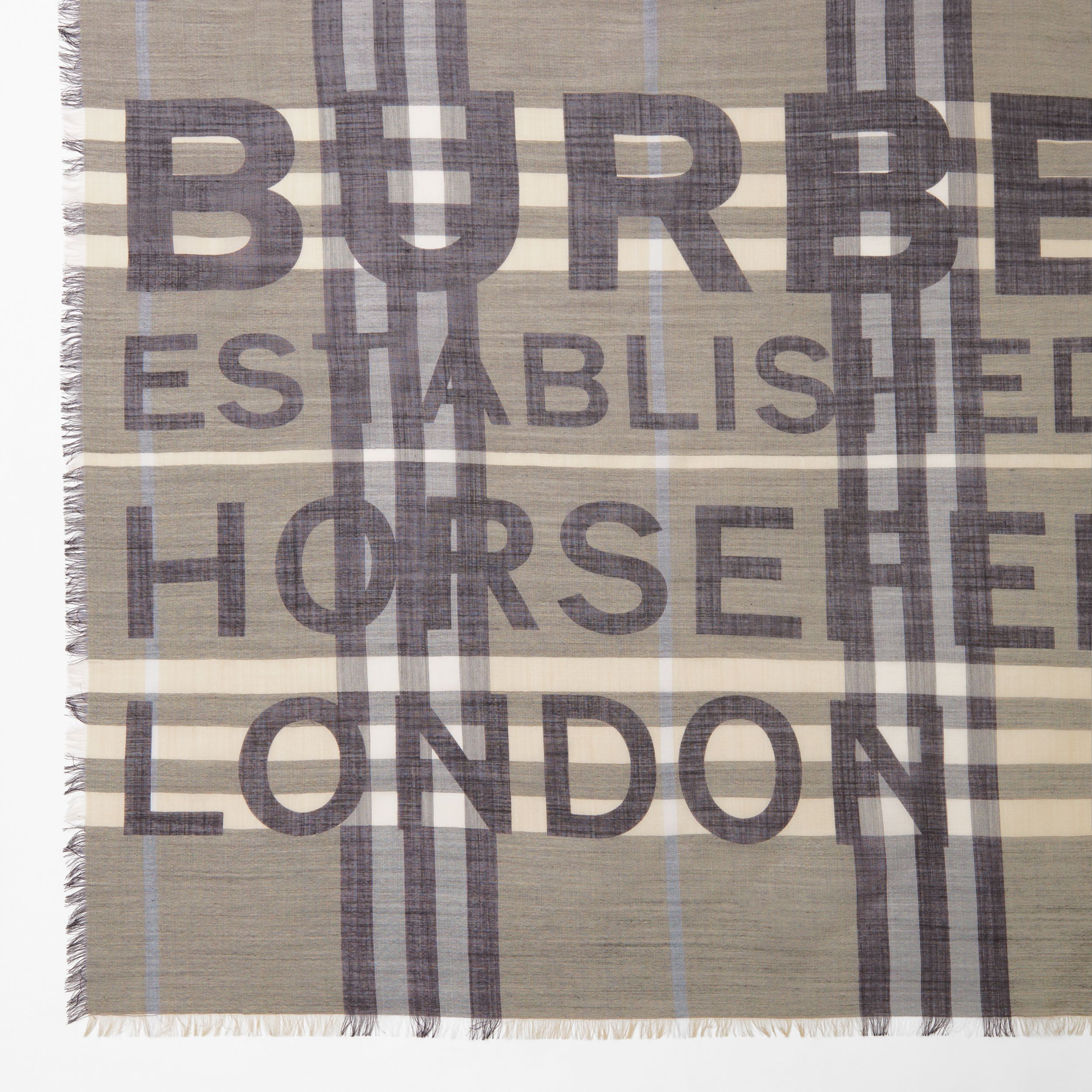 Horseferry Print Check Wool Silk Large Square Scarf in Dusty Sand | Burberry - 2