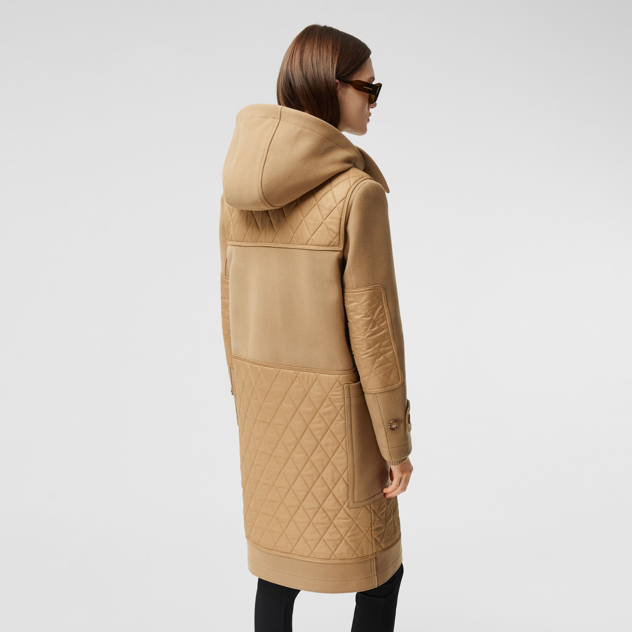 Diamond Quilted Panel Technical Wool Duffle Coat in Camel - Women | Burberry - 3