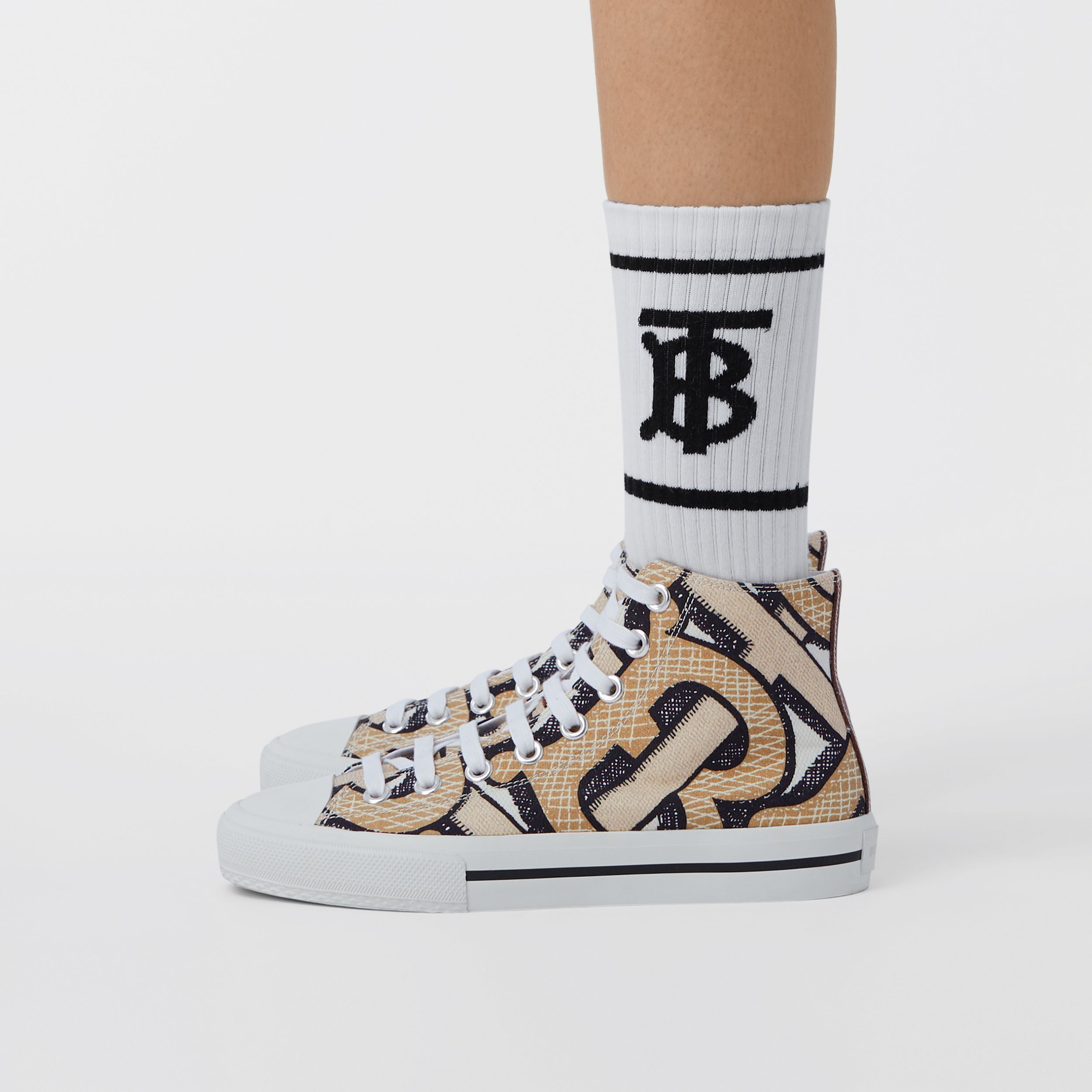 Monogram Print Cotton Canvas High-top Sneakers in Dark Beige - Women | Burberry - 3