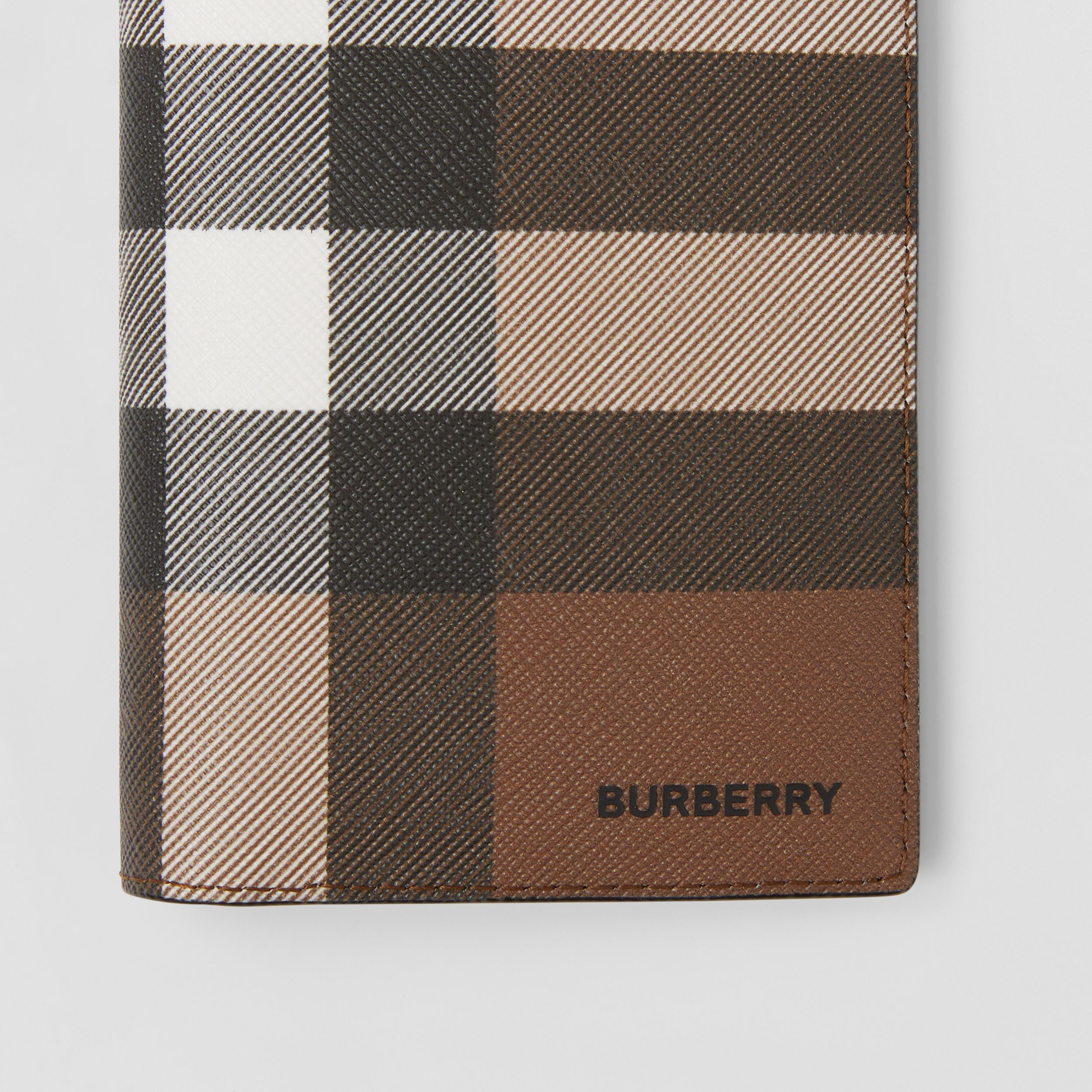 Check E-canvas Continental Wallet in Dark Birch Brown - Men | Burberry - 2