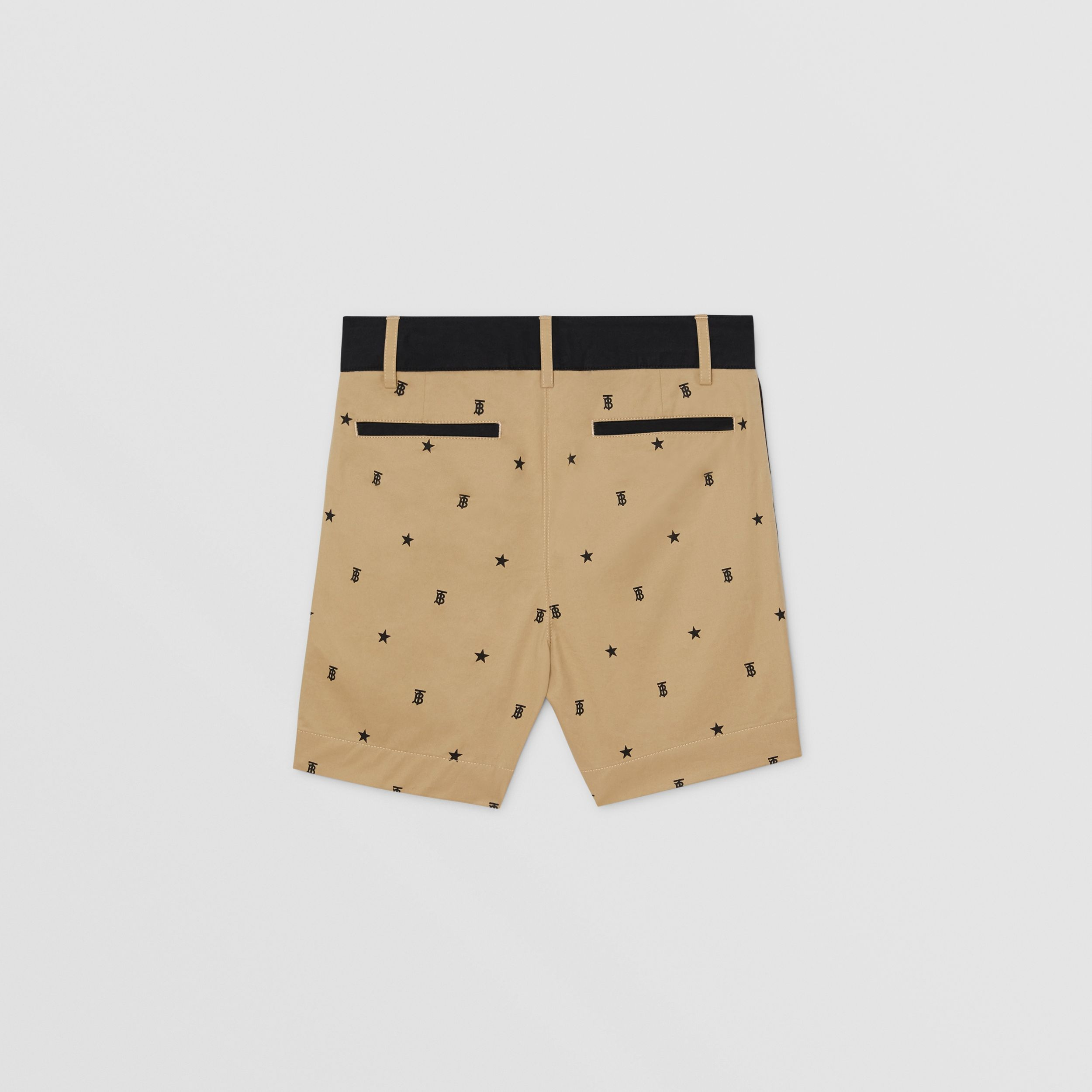 Star and Monogram Motif Tailored Shorts in Sand | Burberry - 4