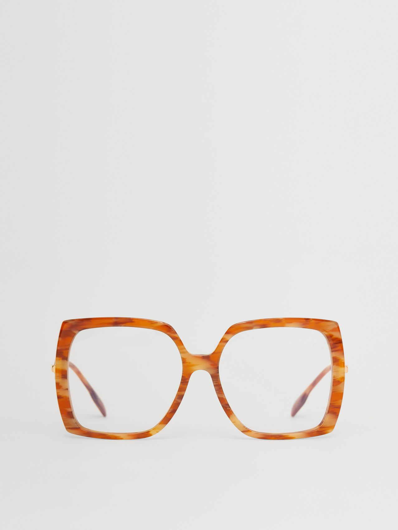 Chain-link Detail Oversized Square Blue Light Glasses in Deer Print