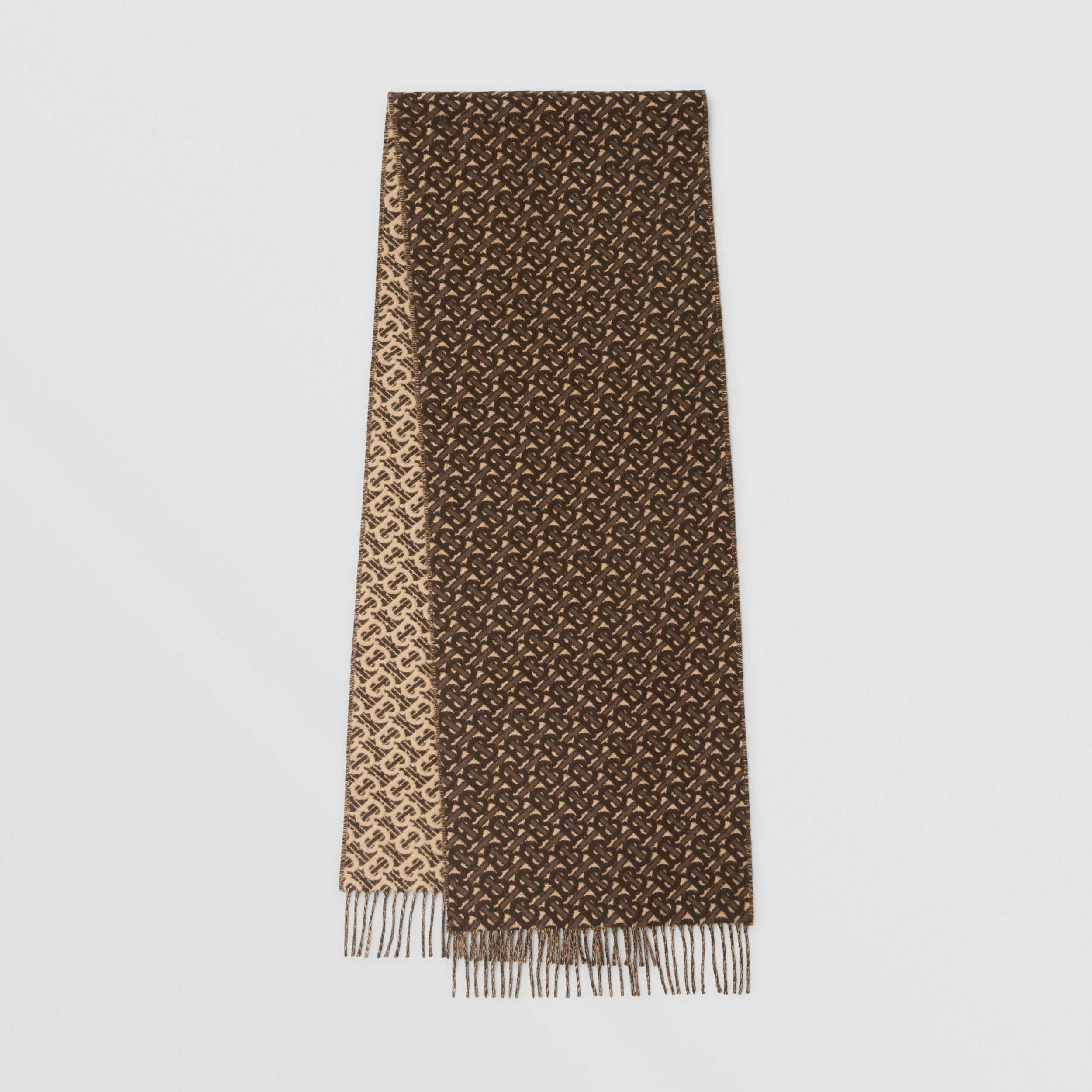 Monogram Cashmere Jacquard Scarf in Bridle Brown | Burberry - 1