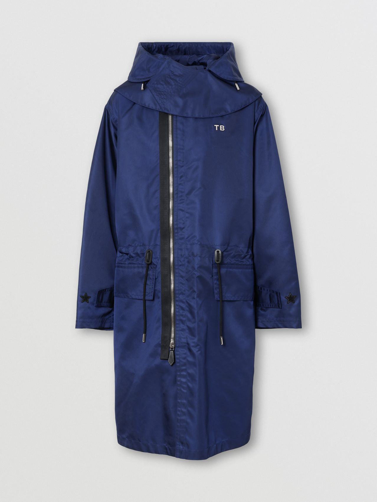 Detachable Hood Letter Motif ECONYL® Parka in Airforce Blue