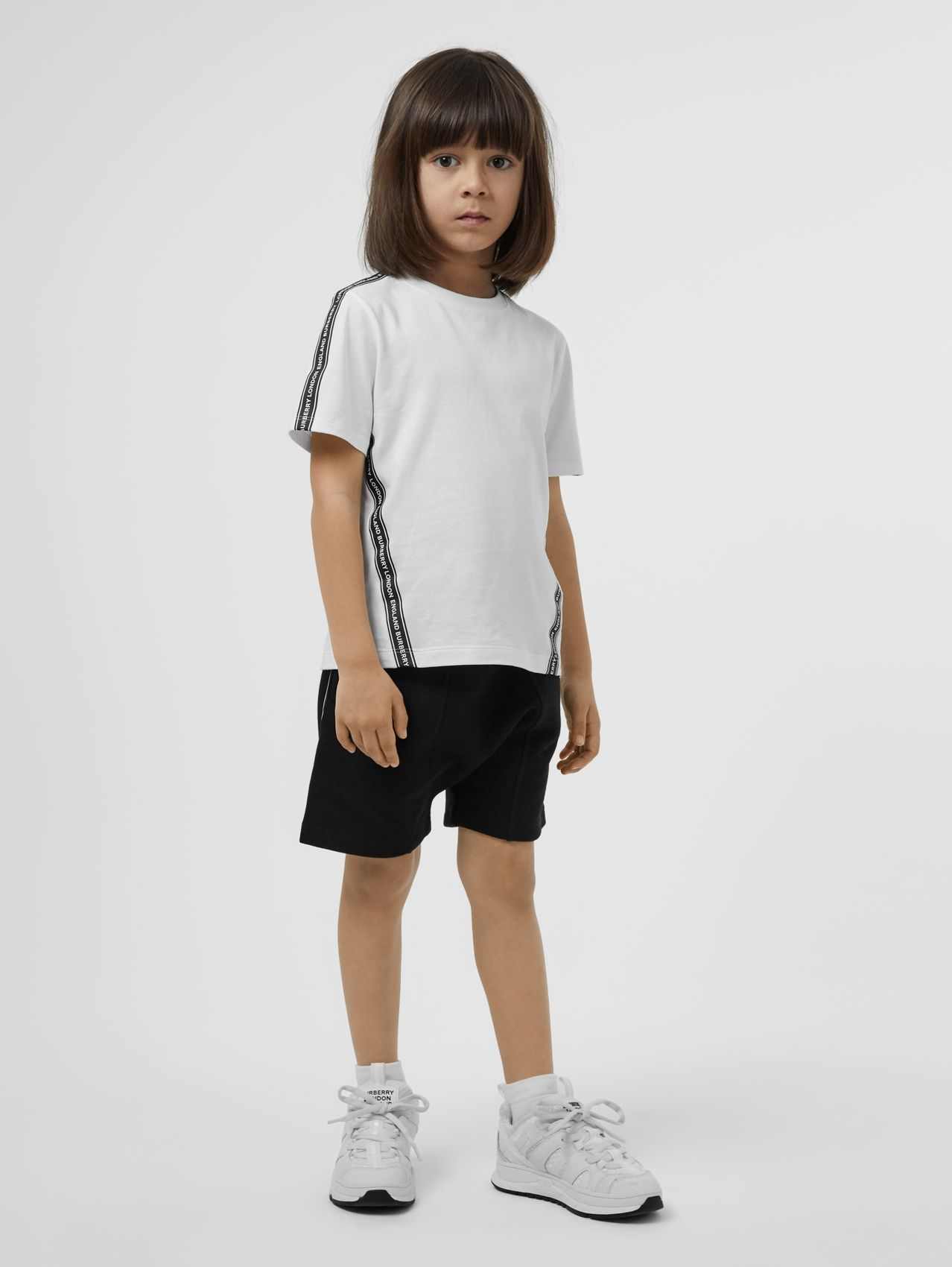 Logo Tape Cotton T-shirt in White