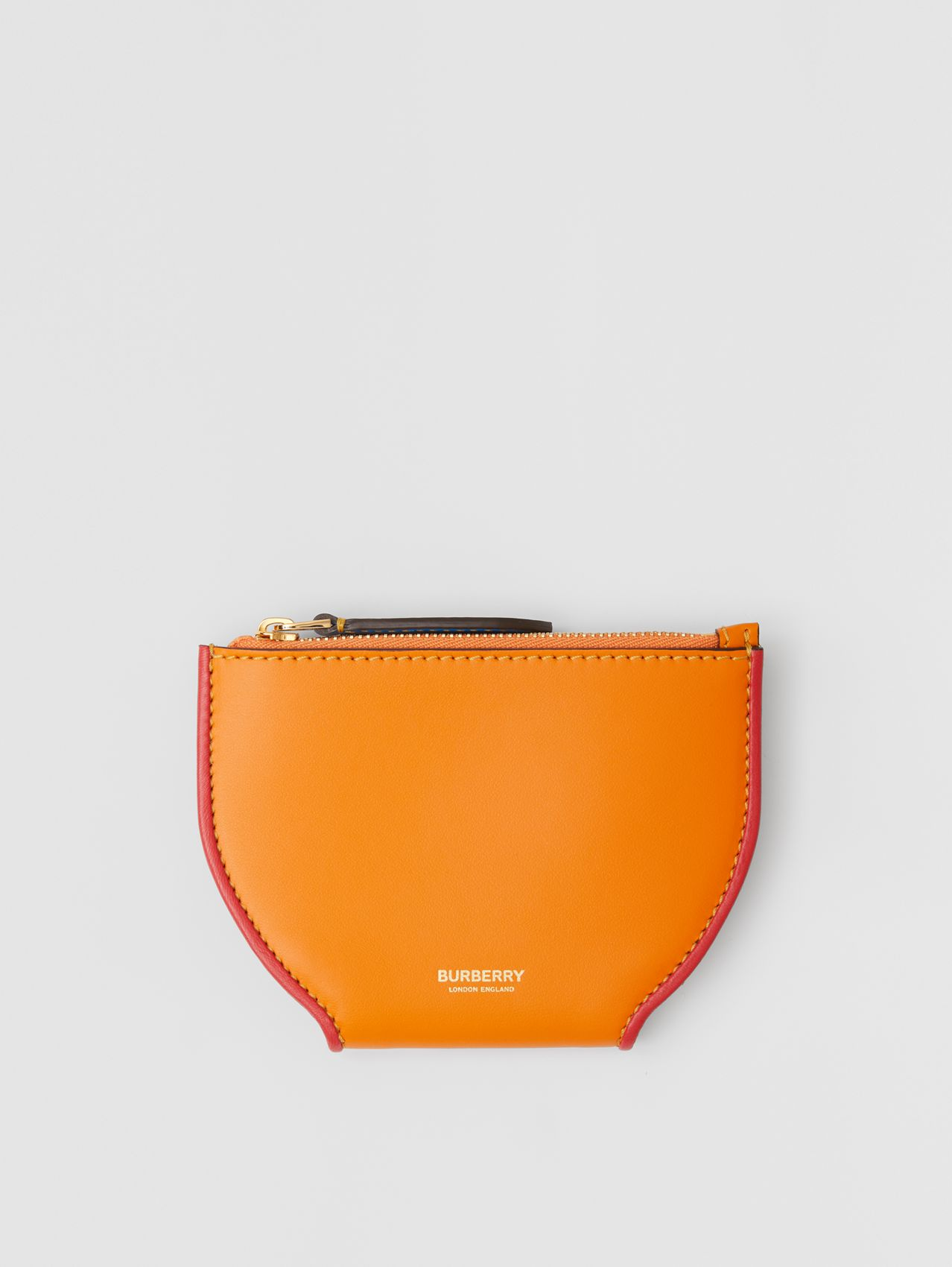 Colour Block Leather Olympia Card Case in Deep Orange