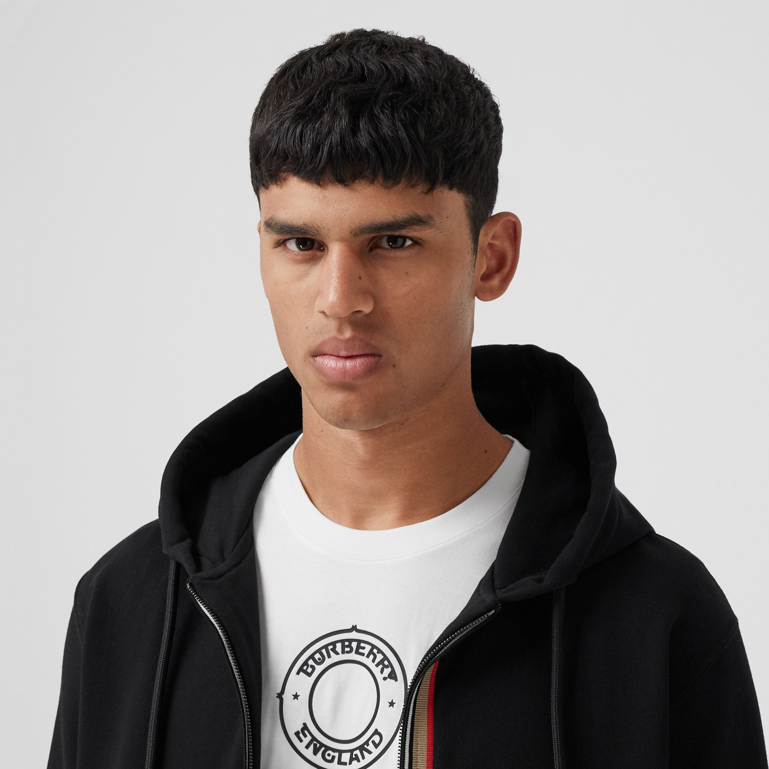Icon Stripe Detail Cotton Hooded Top in Black - Men | Burberry - 2