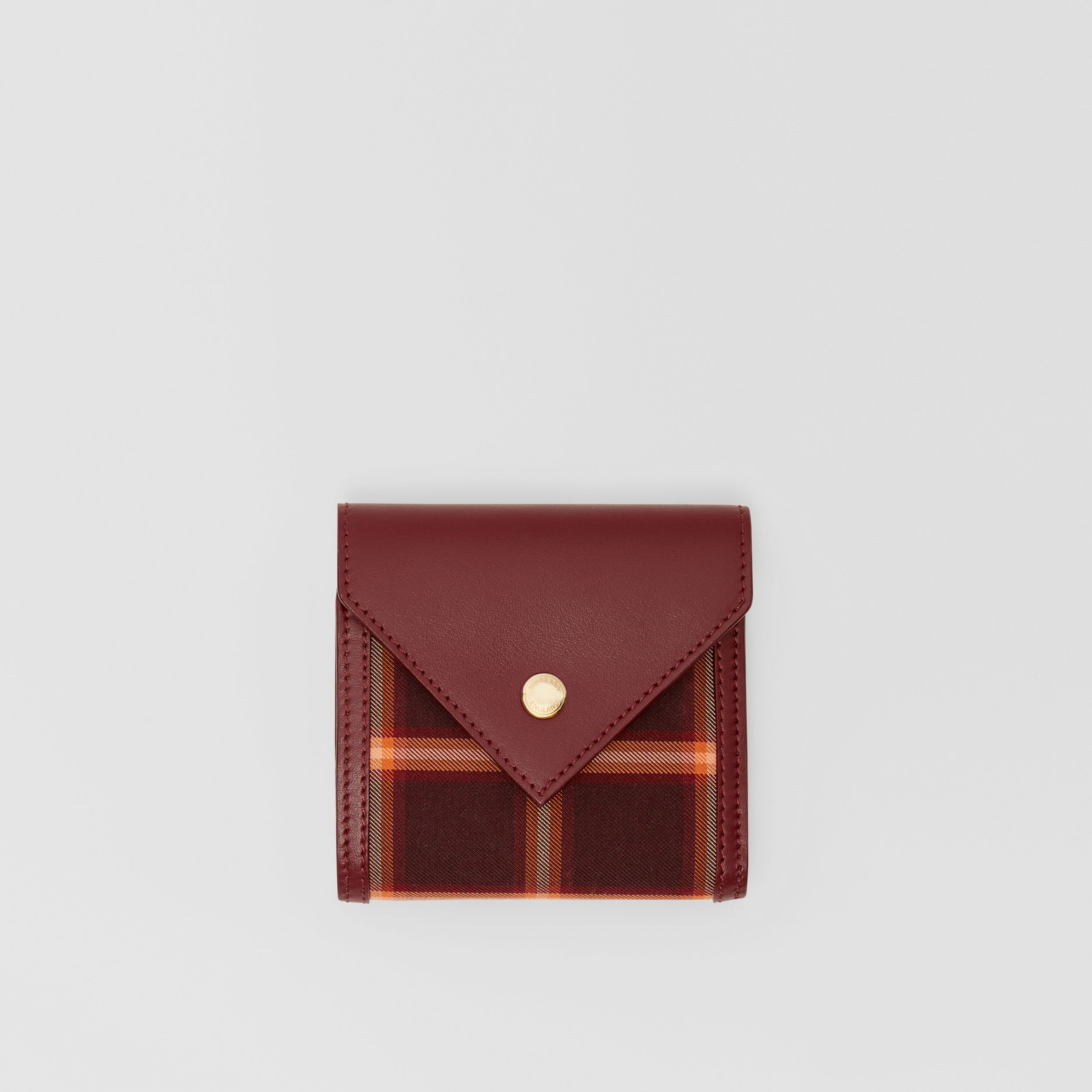 Tartan Technical Cotton and Leather Folding Wallet in Burgundy - Women | Burberry Australia - 1