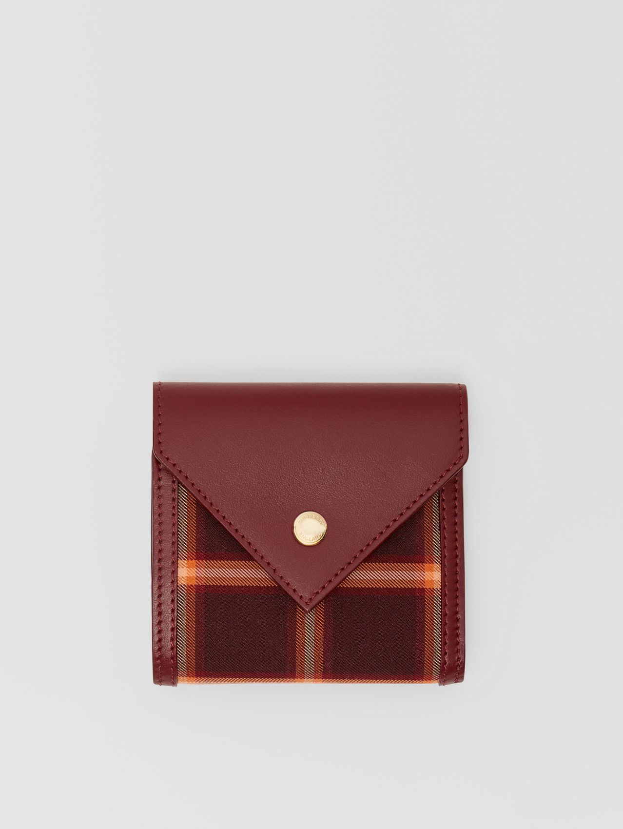 Tartan Technical Cotton and Leather Folding Wallet in Burgundy