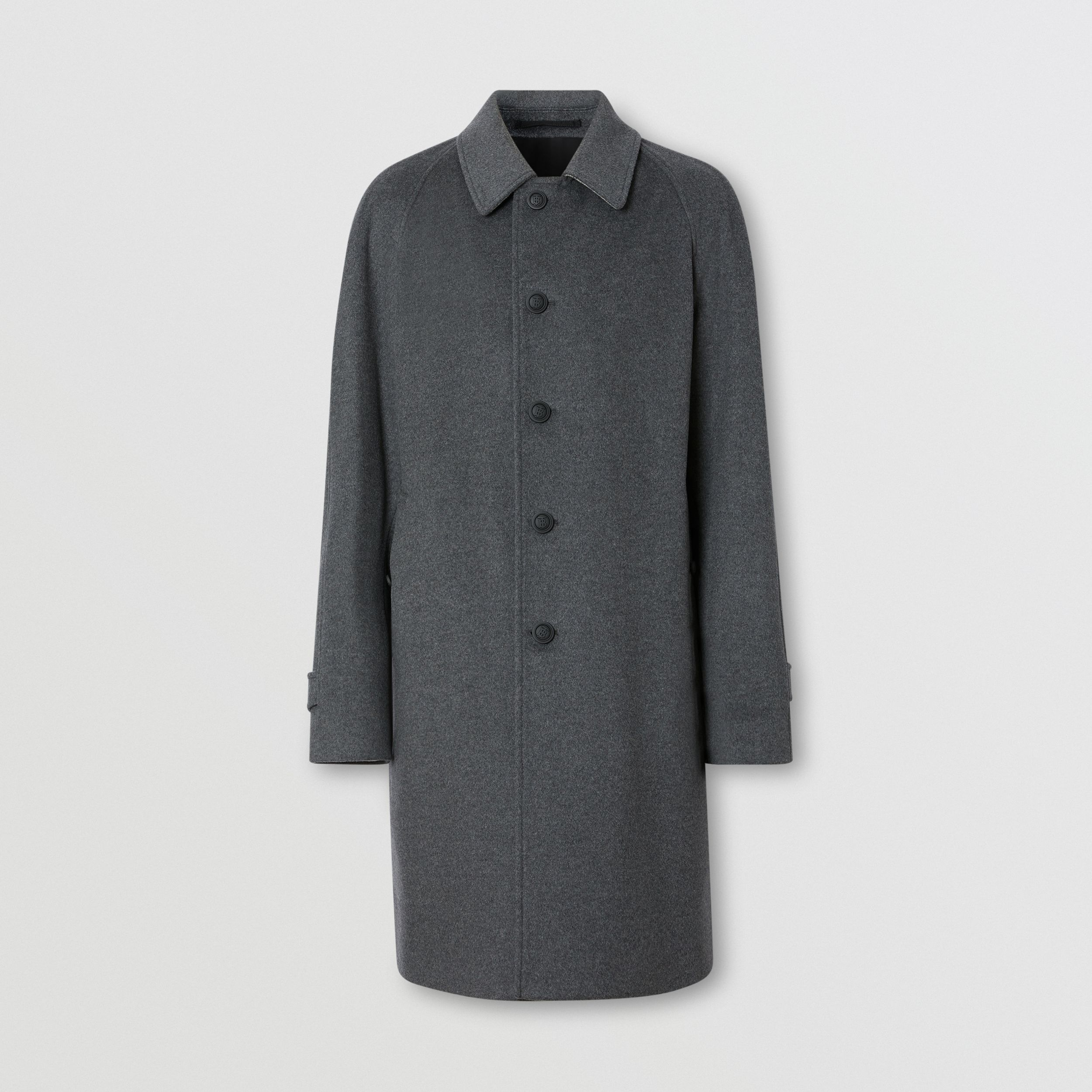 Button Detail Wool Cashmere Car Coat in Charcoal Melange - Men | Burberry - 4