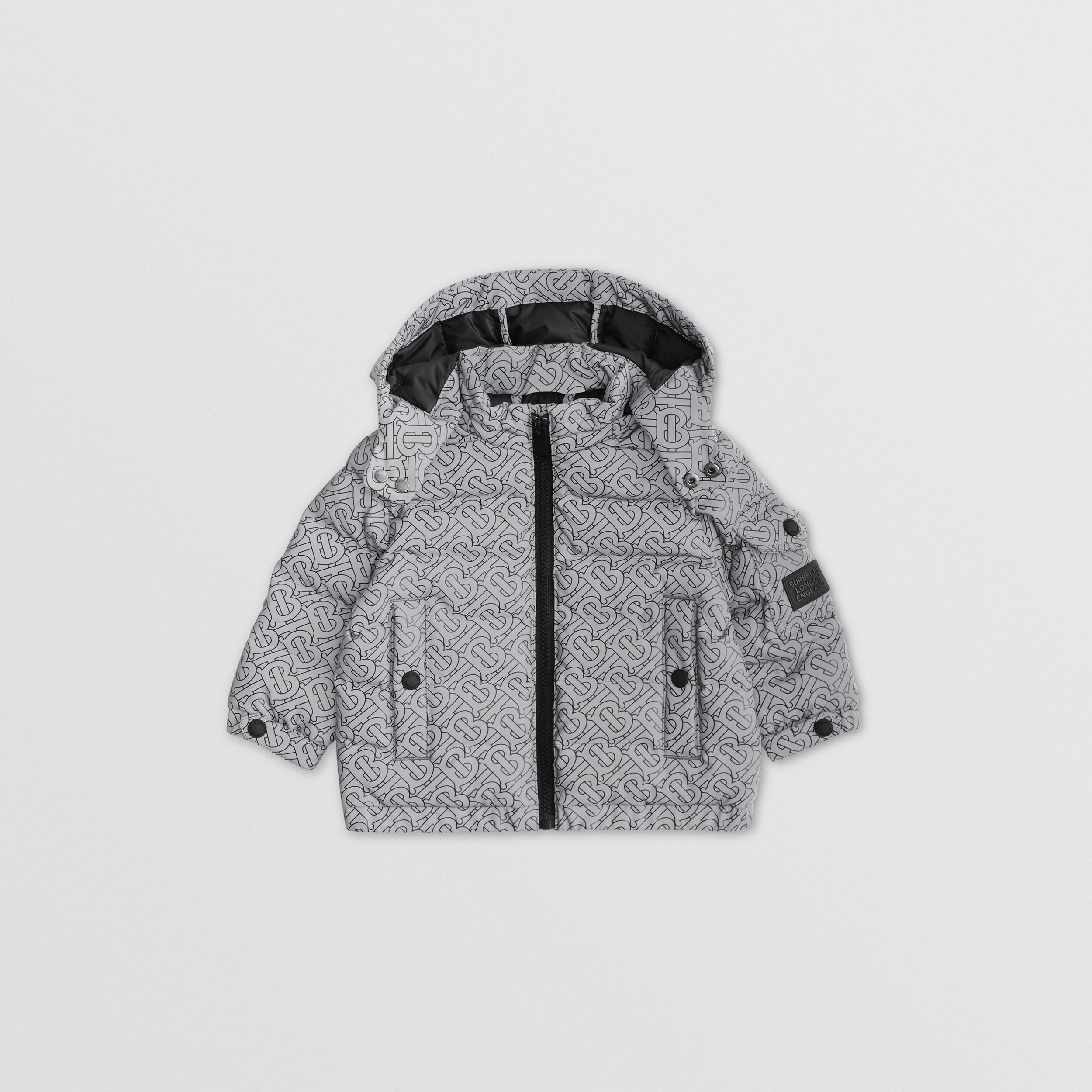 Monogram Print Hooded Puffer Jacket in Black - Children | Burberry - 1