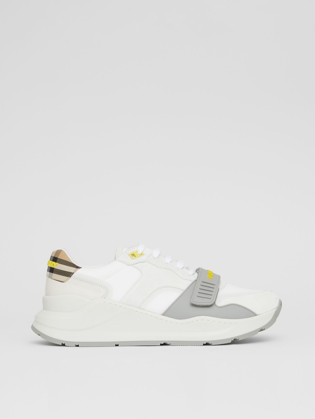 Suede, Vintage Check and Leather Sneakers in White/archive Beige/yellow