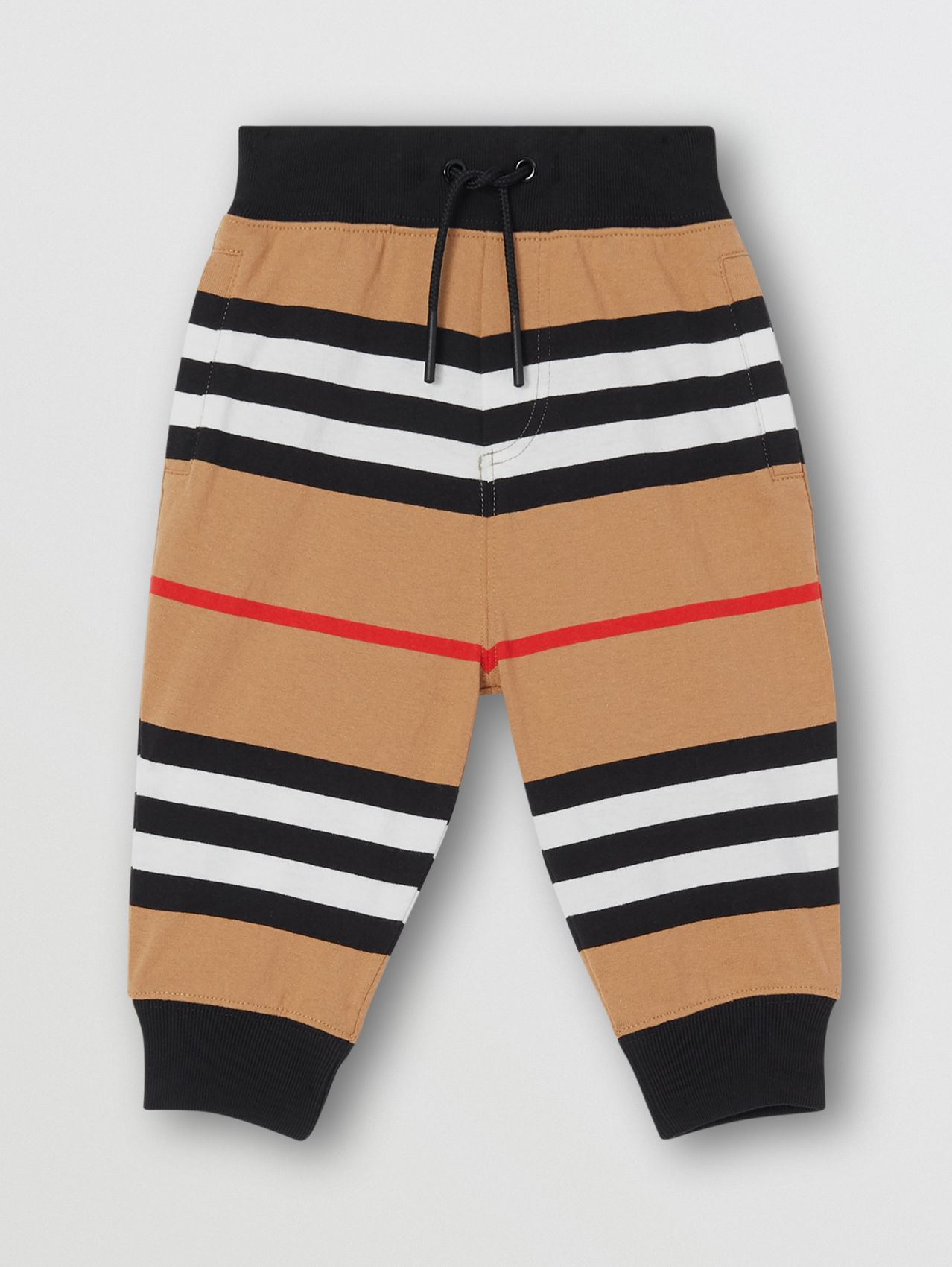 Icon Stripe Cotton Jogging Pants in Archive Beige