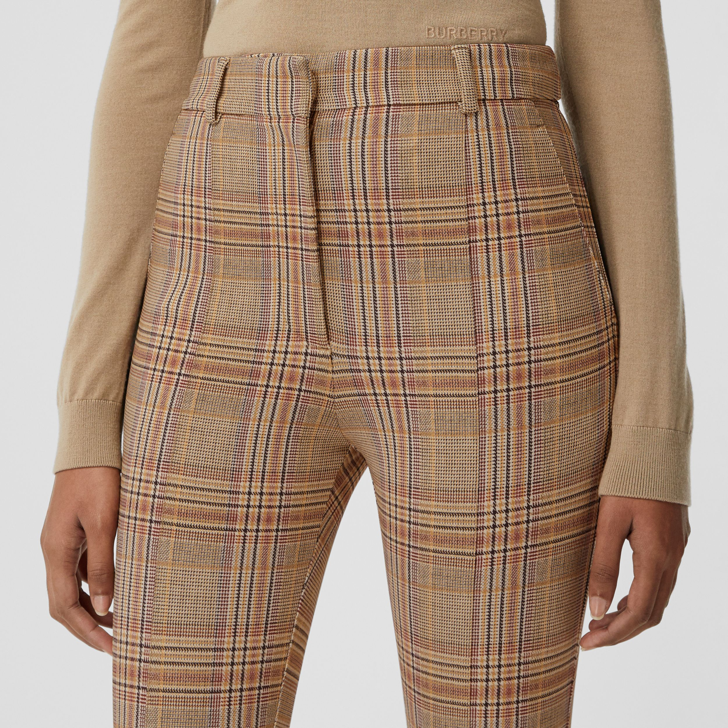 Check Stretch Jersey Jodhpurs in Dark Honey - Women | Burberry - 2