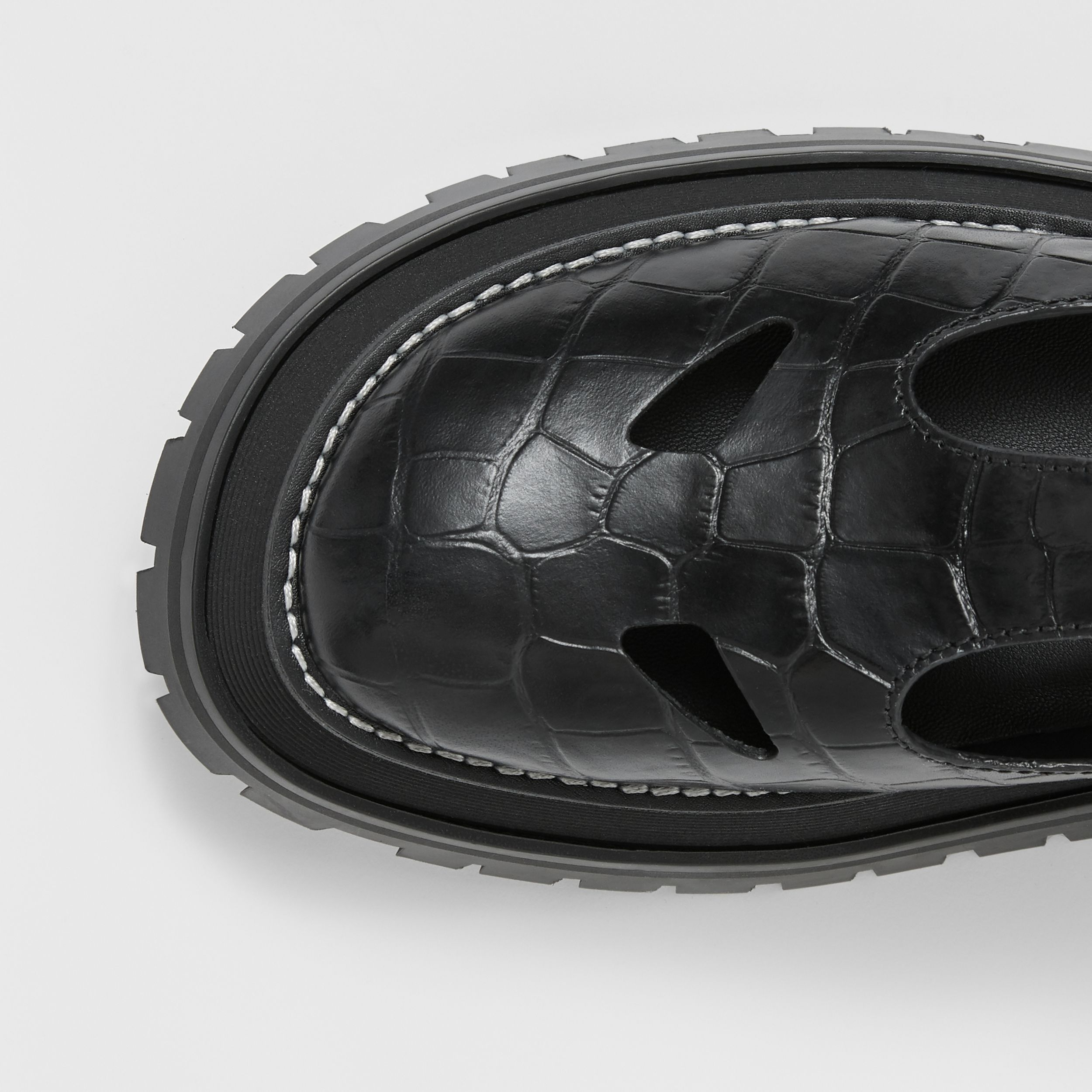 Embossed Leather T-bar Shoes in Black - Women | Burberry Canada - 2