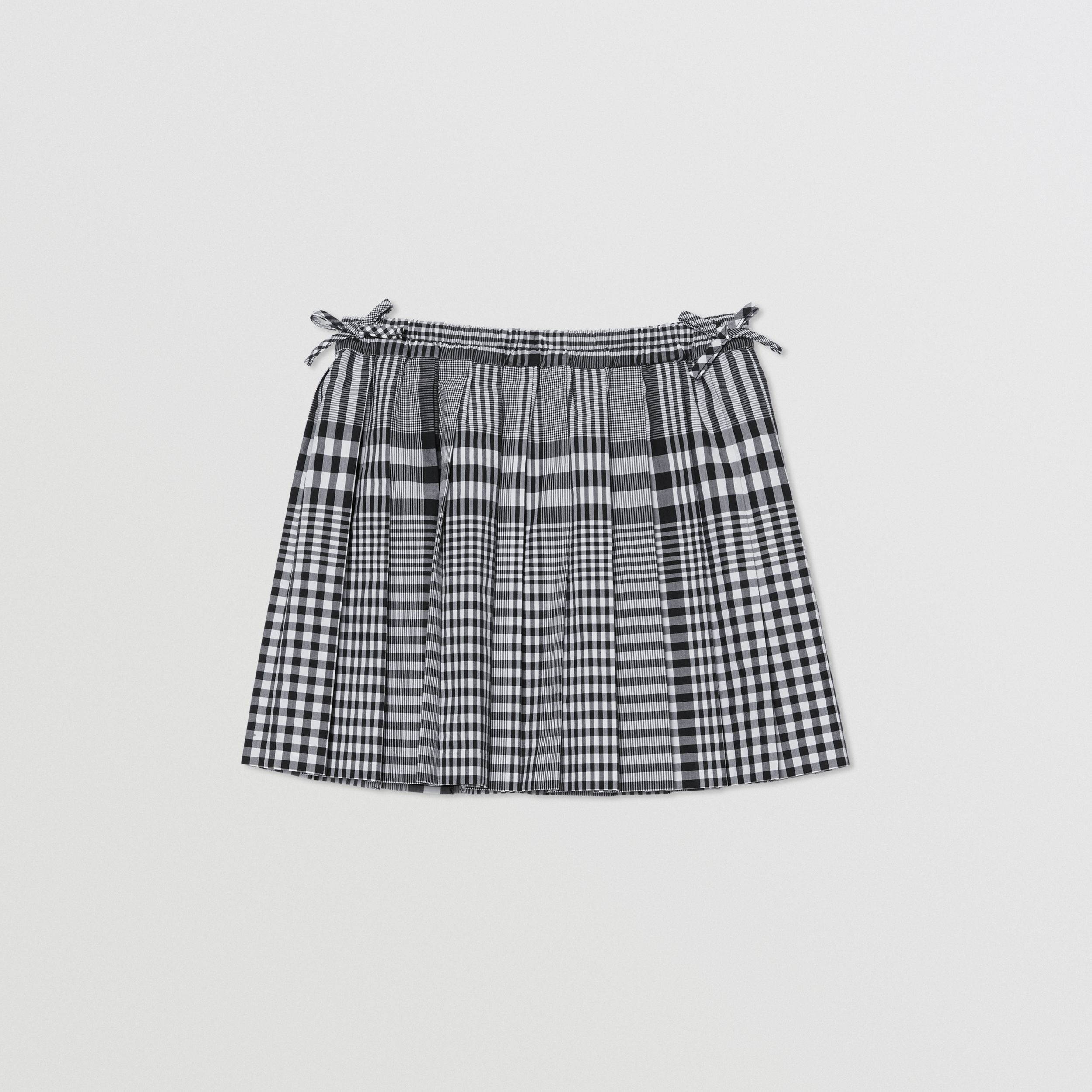 Check Cotton Poplin Pleated Skirt in Black | Burberry - 1