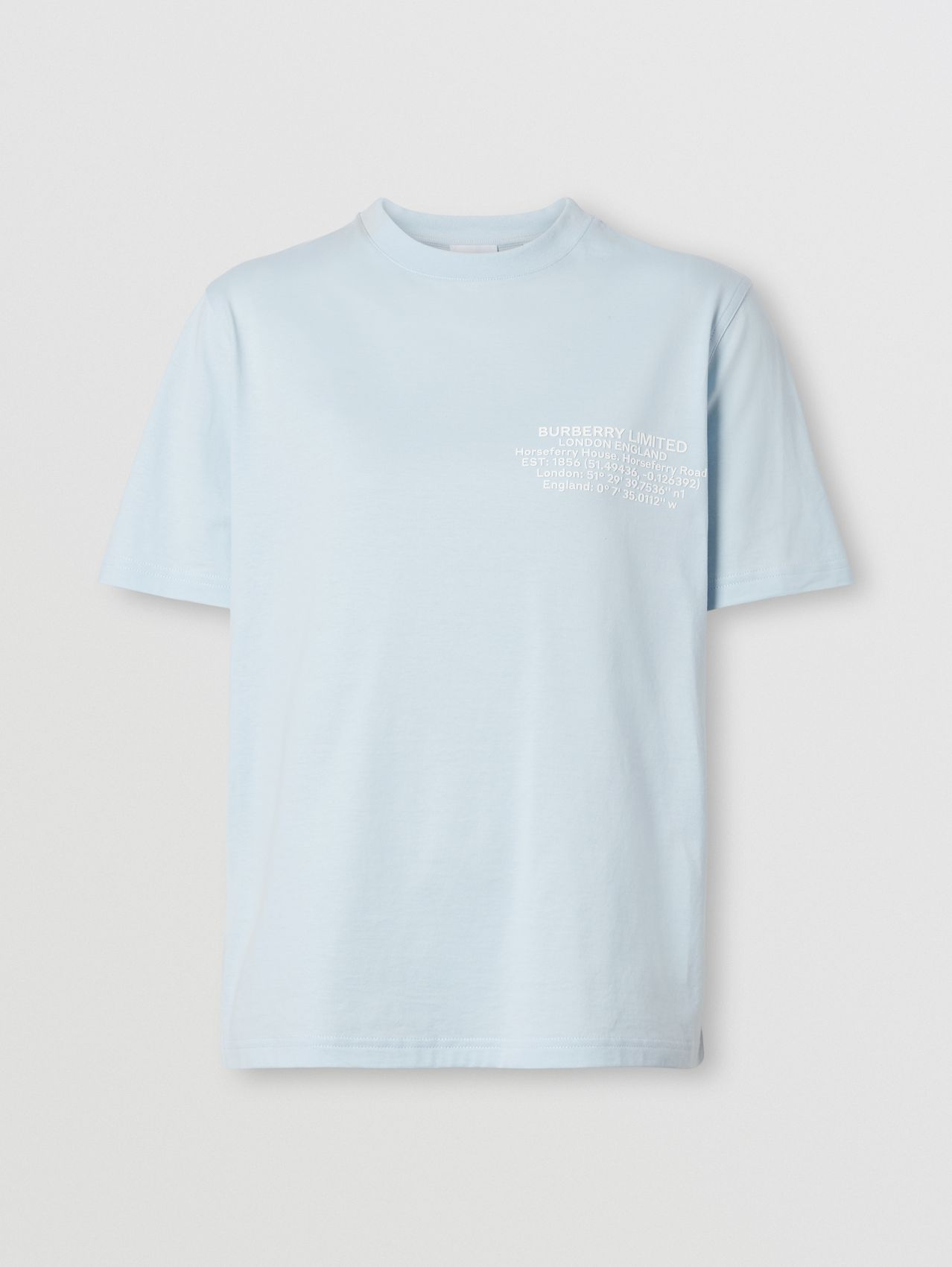 Location Print Cotton T-shirt in Pale Blue