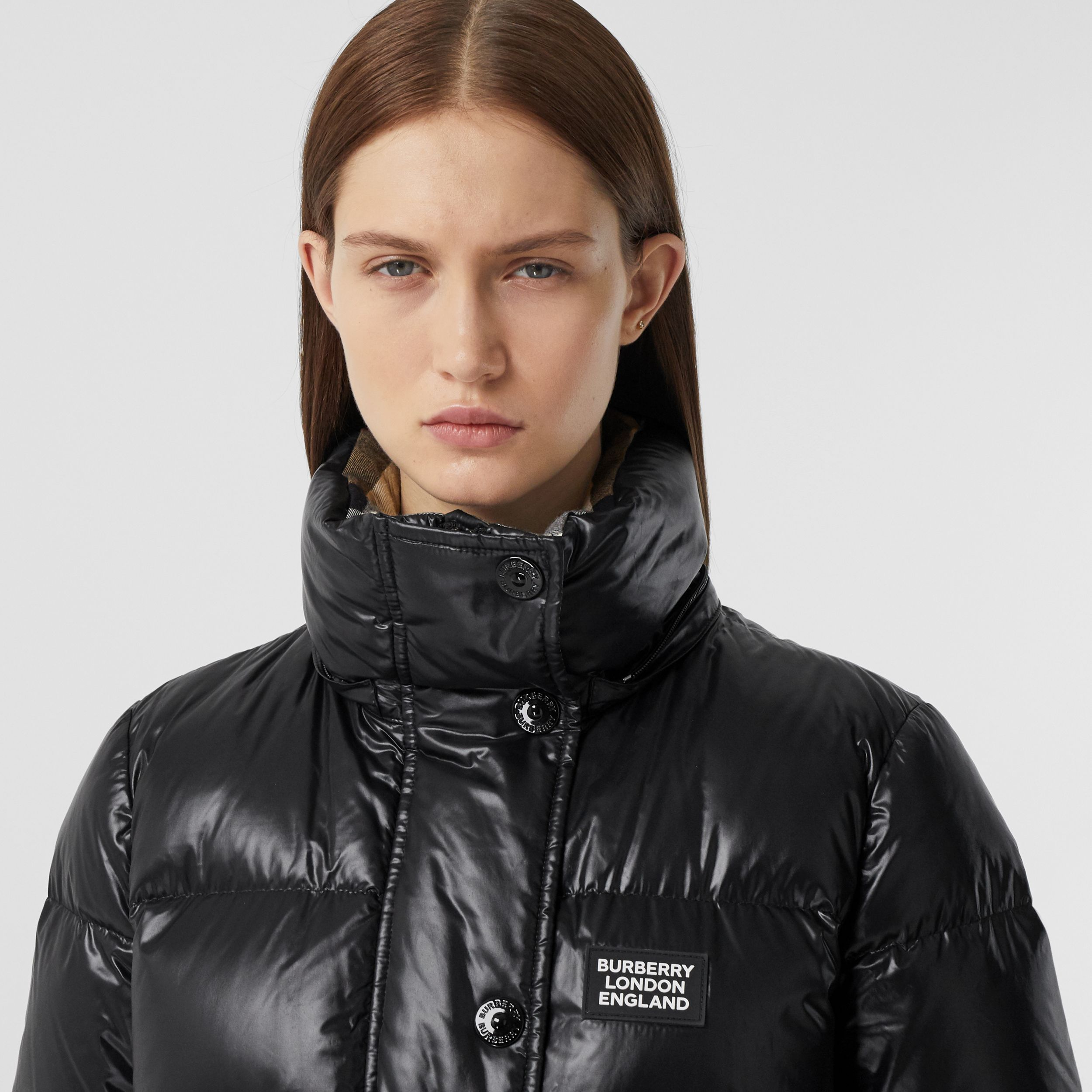 Detachable Hood Logo Appliqué Puffer Jacket in Black - Women | Burberry - 2