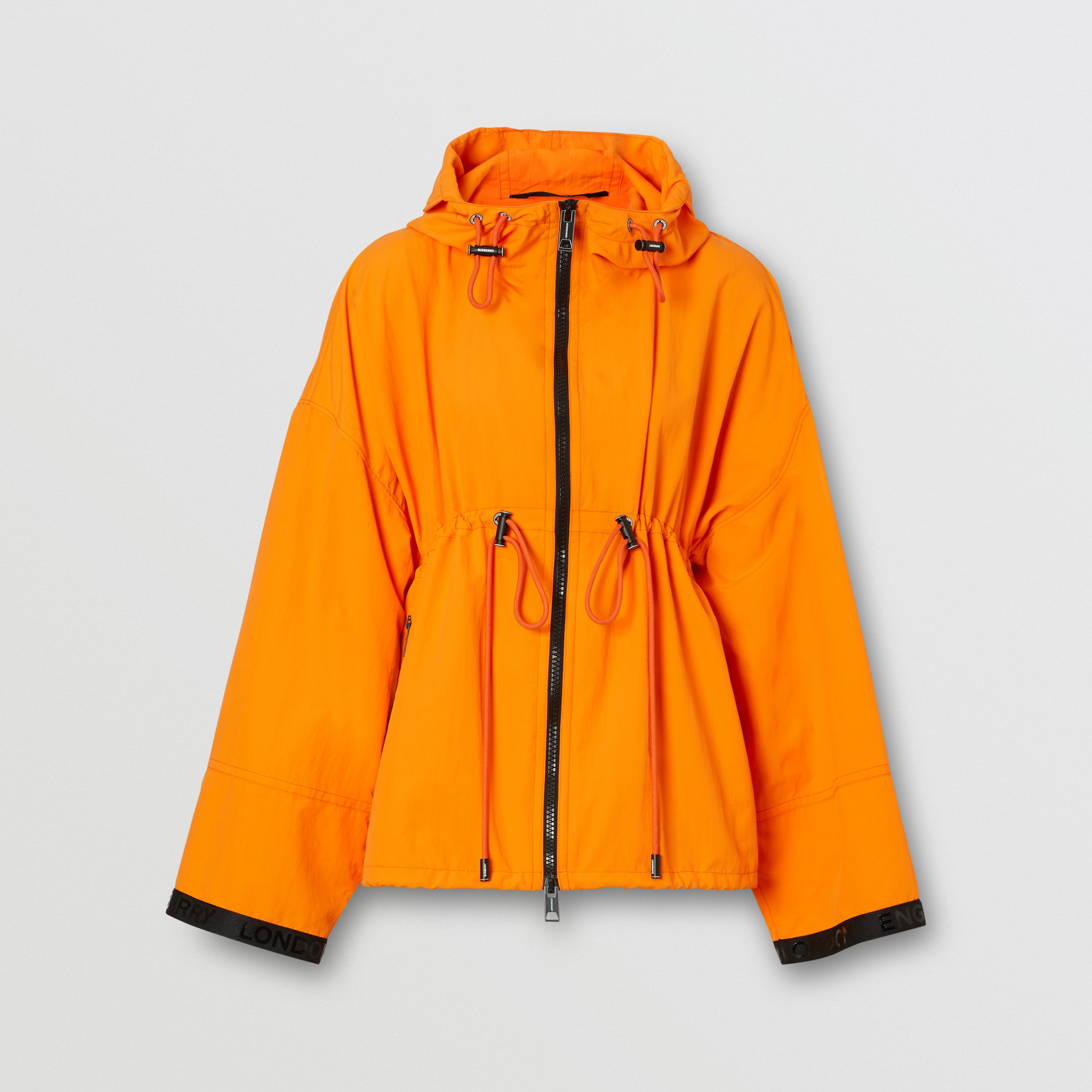 Logo Tape Technical Nylon Hooded Jacket in Bright Orange - Women | Burberry - 4