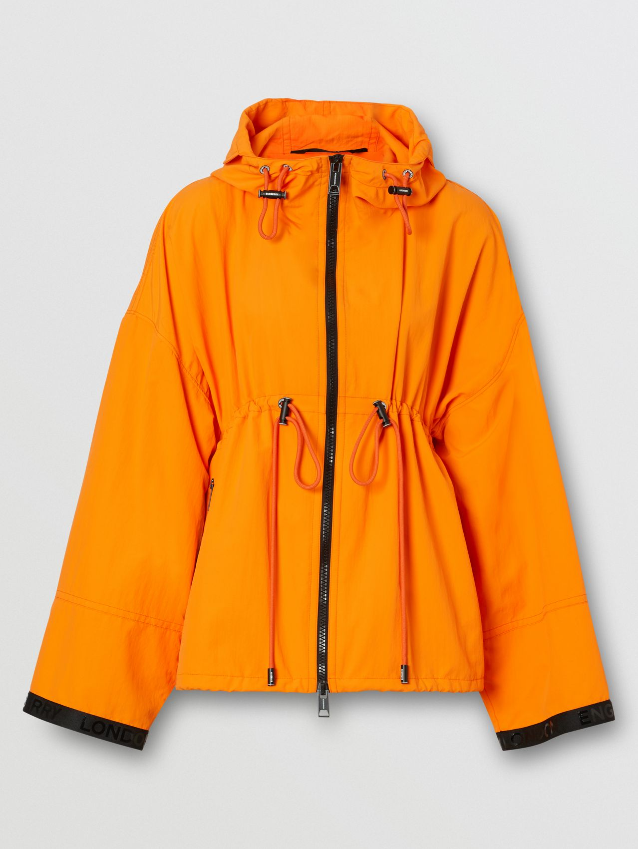 Veste à capuche en nylon technique avec bandes à logo in Orange Vif