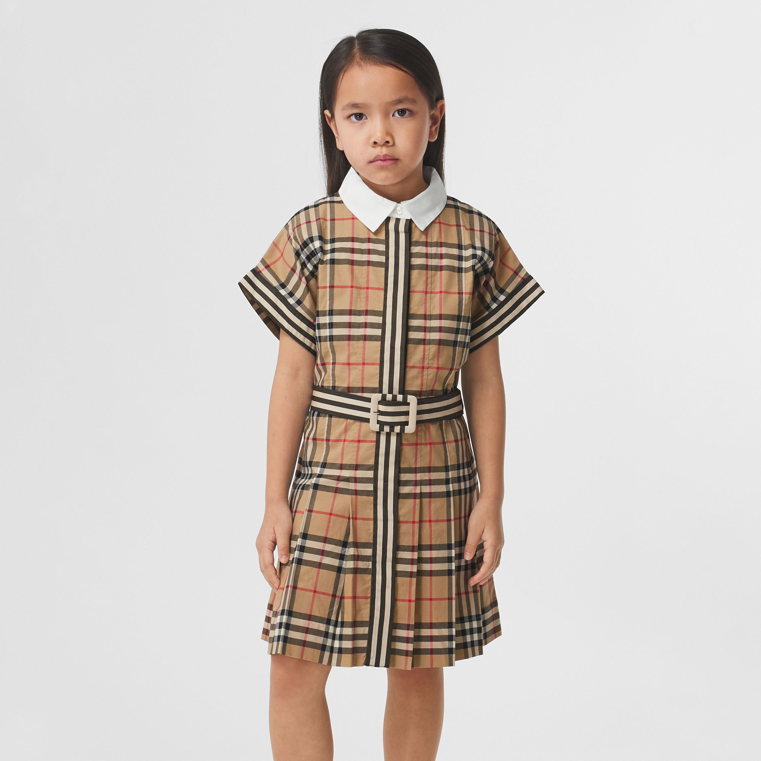Contrast Collar Vintage Check Cotton Dress in Archive Beige | Burberry - 3
