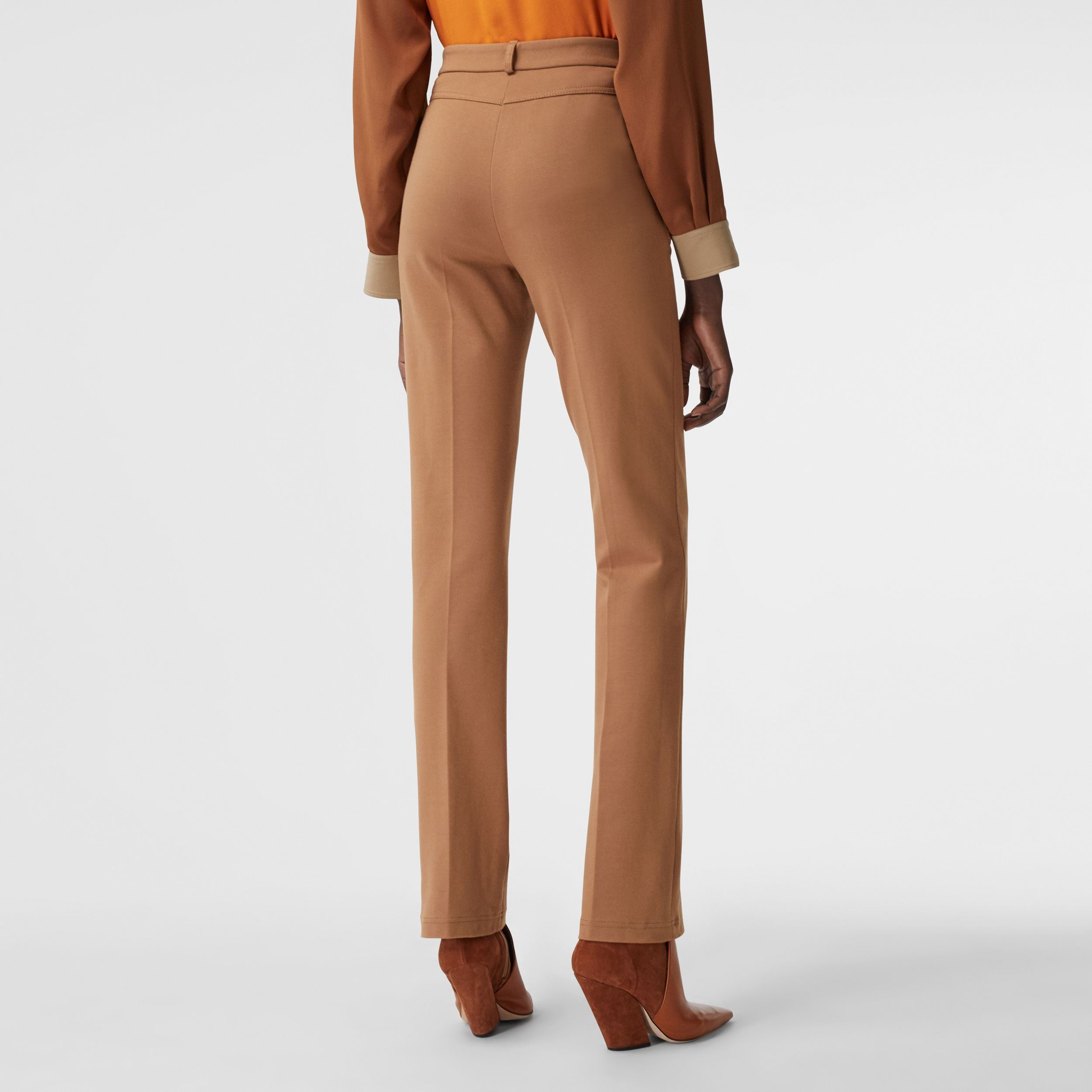 Pocket Detail Jersey Tailored Trousers in Biscuit - Women | Burberry - 3