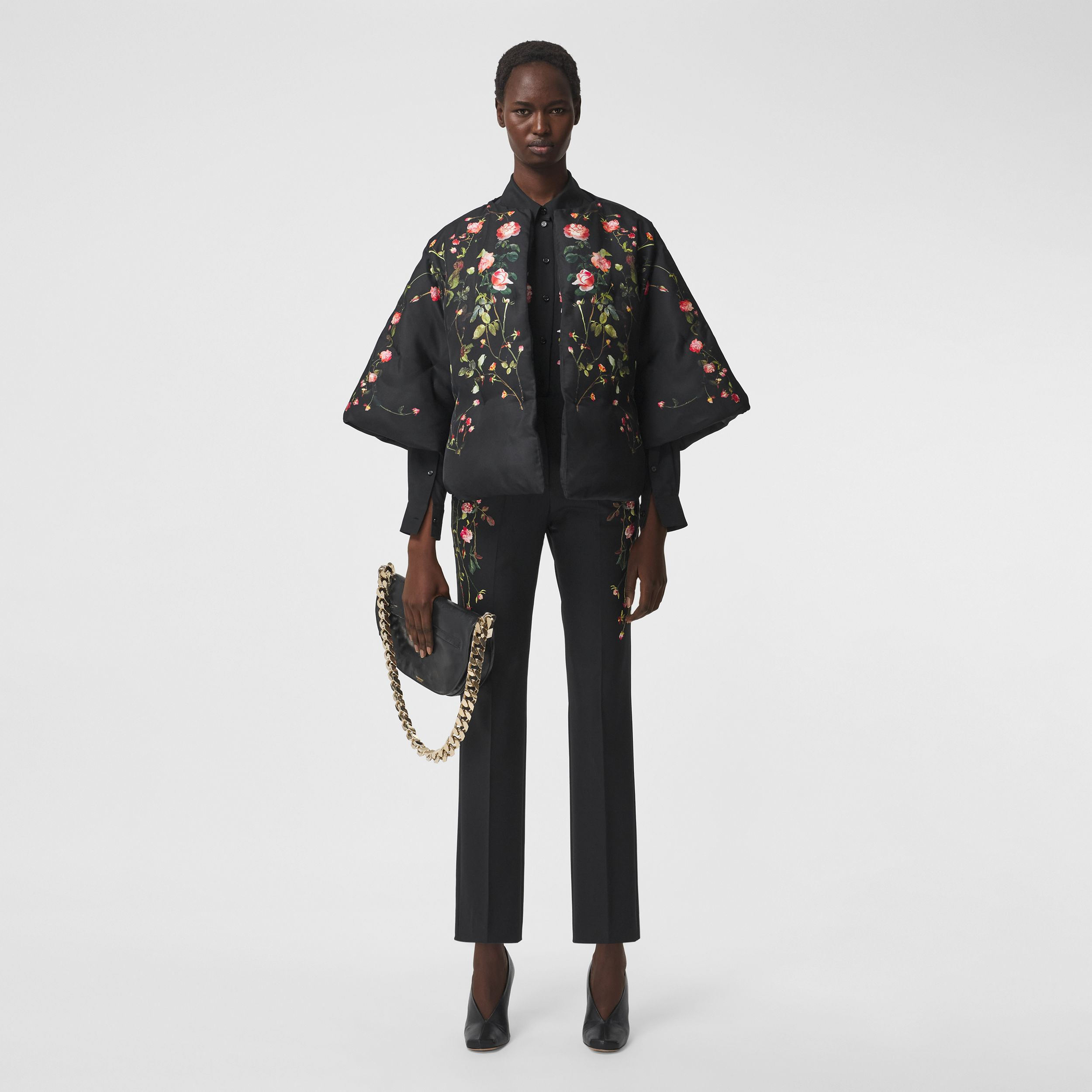 Rose Print Silk Cape in Black - Women | Burberry - 1