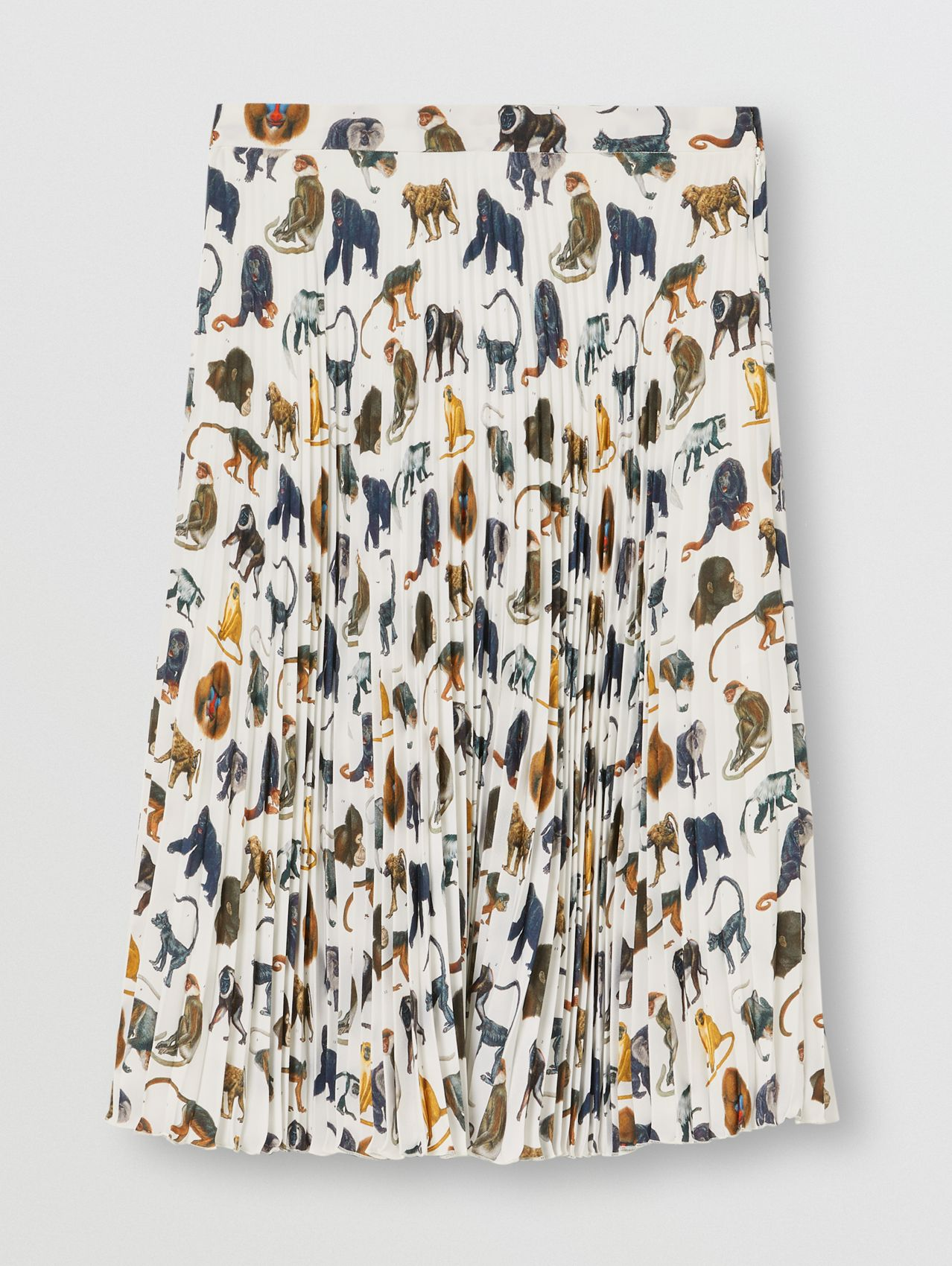 Monkey Print Crepe De Chine Pleated Skirt in White