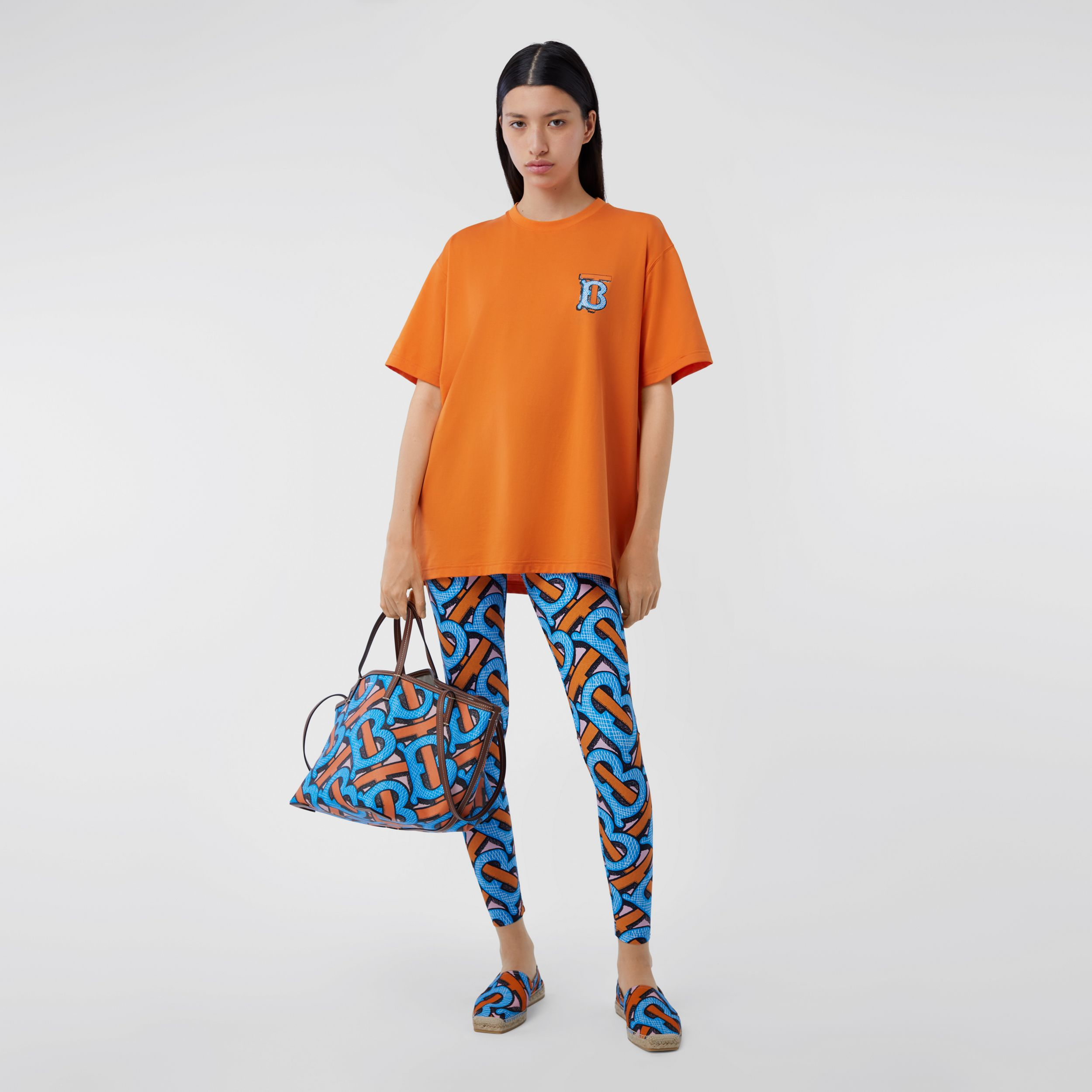 Monogram Motif Cotton T-shirt – Unisex in Bright Orange | Burberry United Kingdom - 4