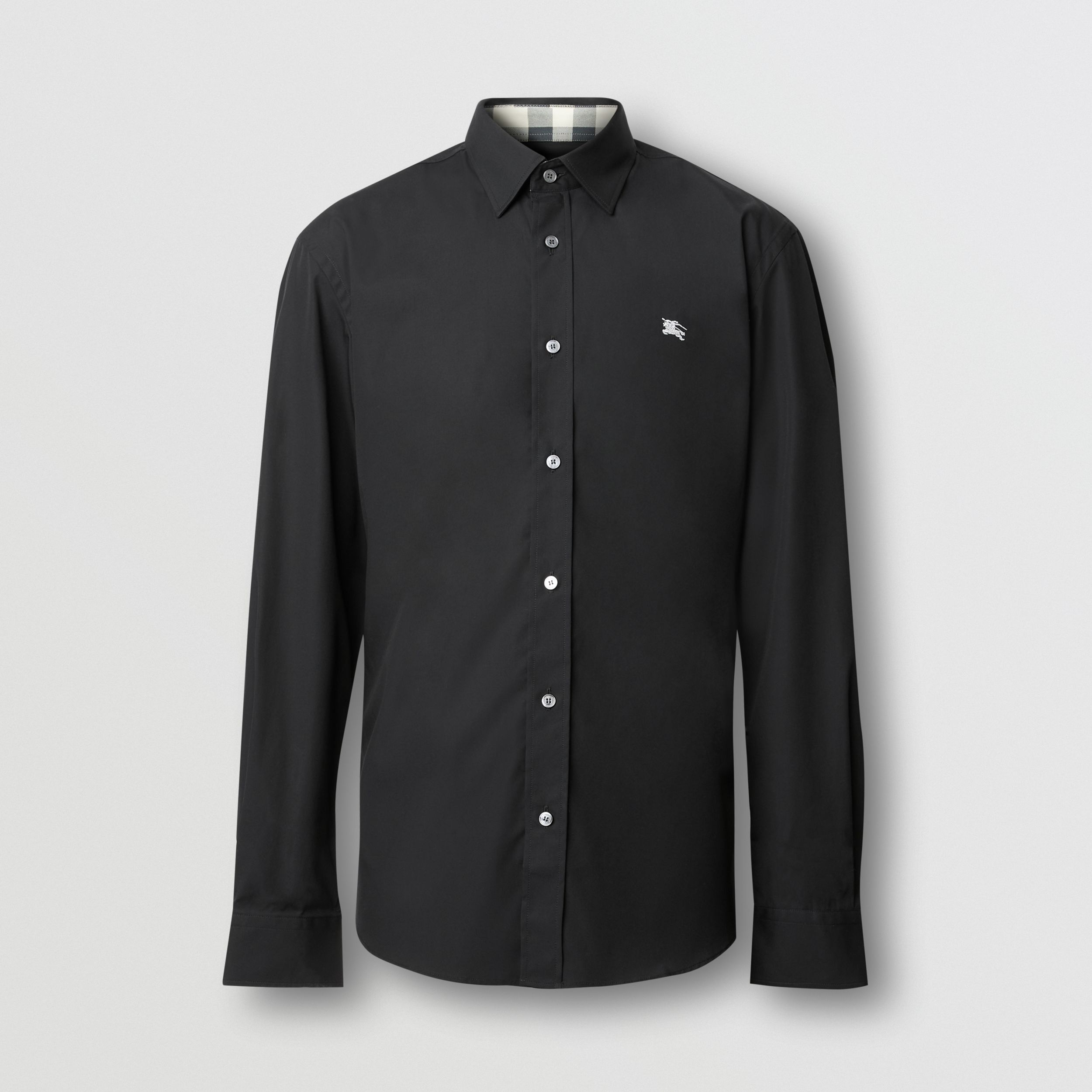 Embroidered EKD Stretch Cotton Poplin Shirt in Black - Men | Burberry Australia - 1