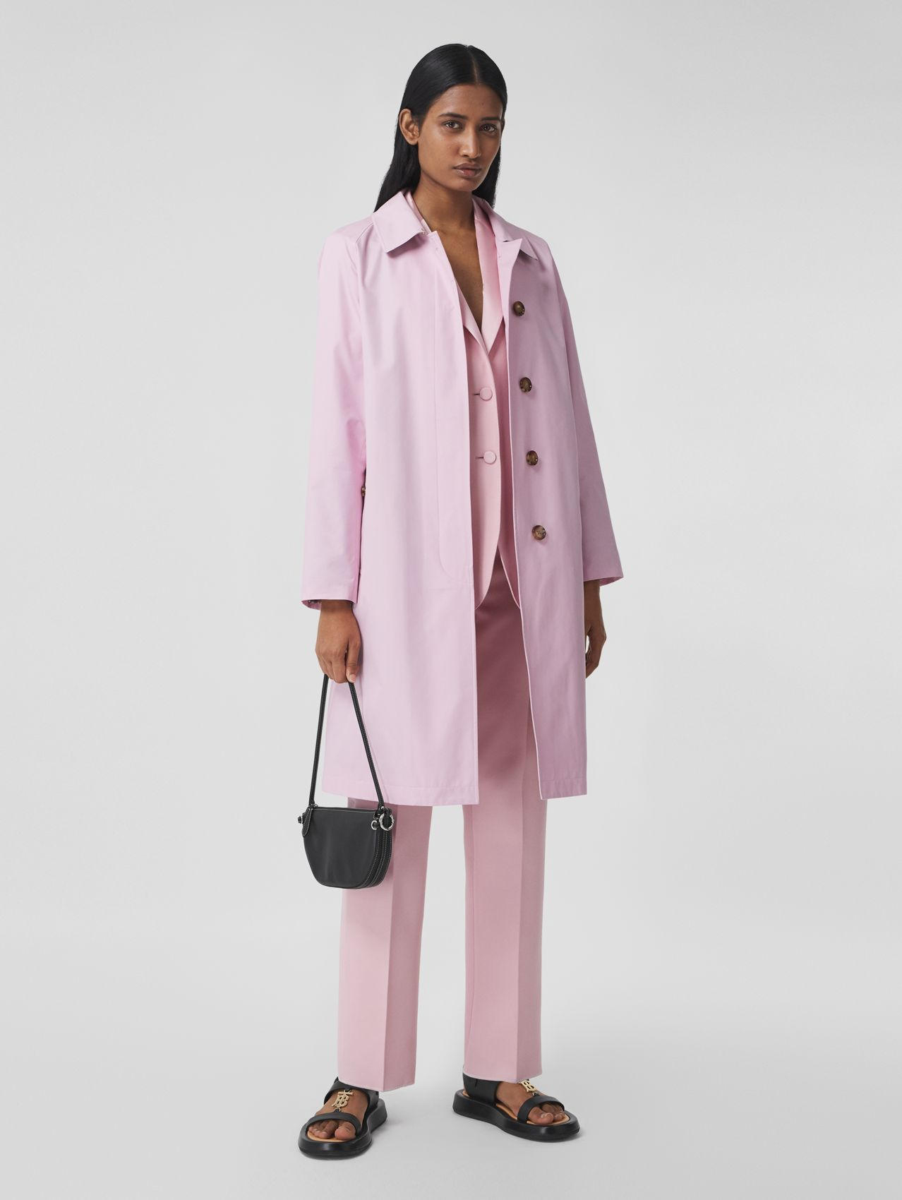 Technical Cotton Car Coat in Orchid Pink