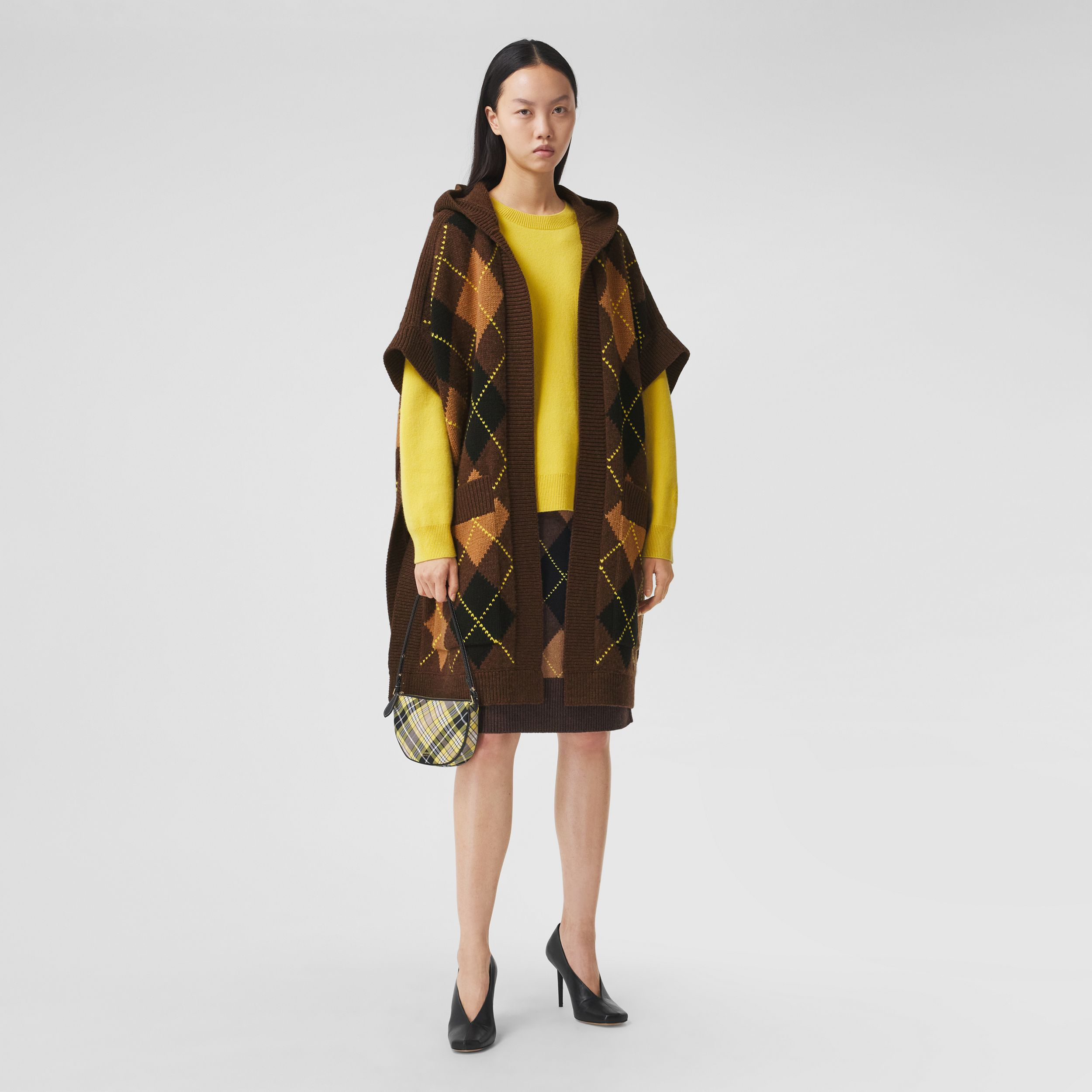 Argyle Intarsia Wool Cashmere Hooded Cape in Brown - Women | Burberry Hong Kong S.A.R. - 1