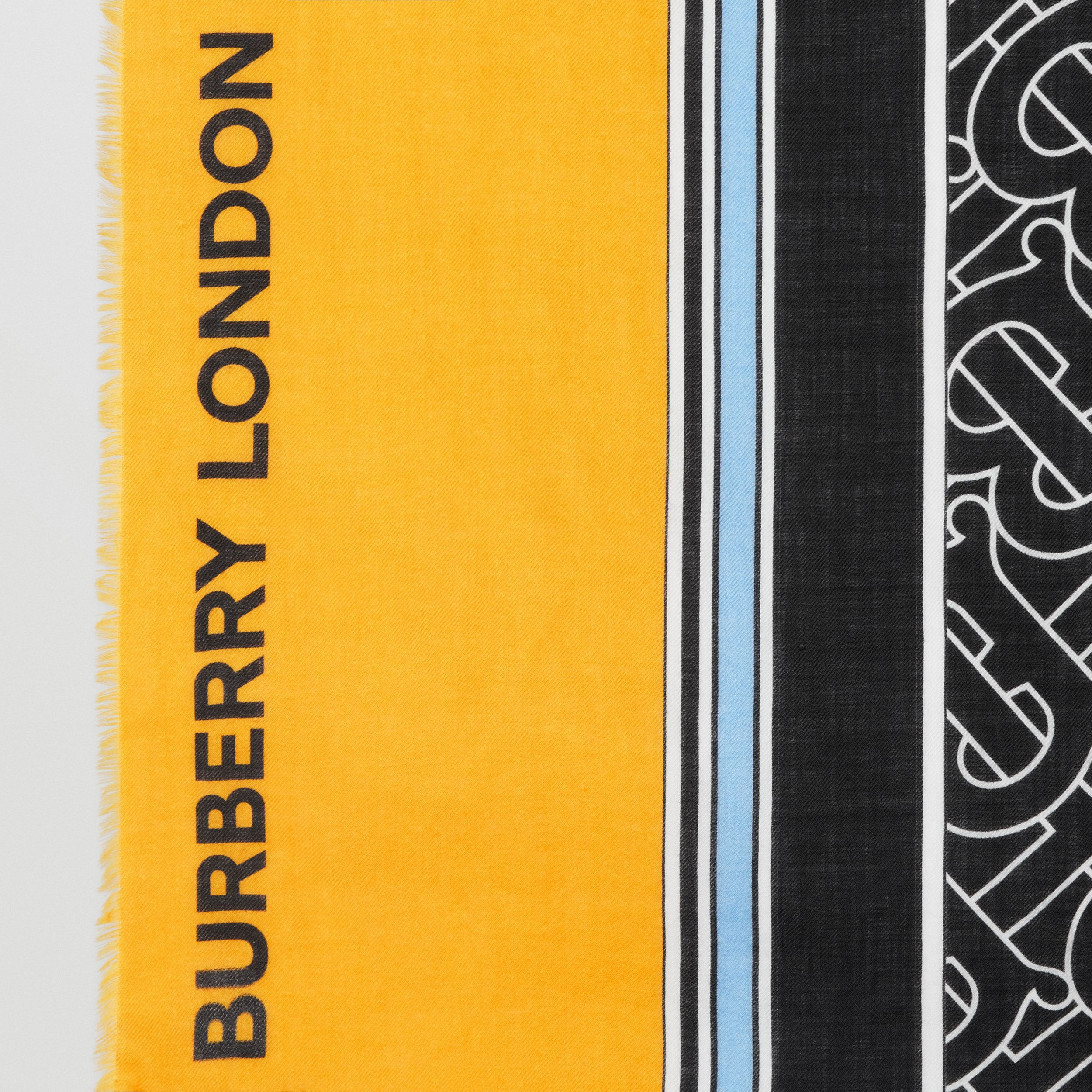 Monogram Print Striped Lightweight Cashmere Scarf in Citrus Yellow | Burberry - 2