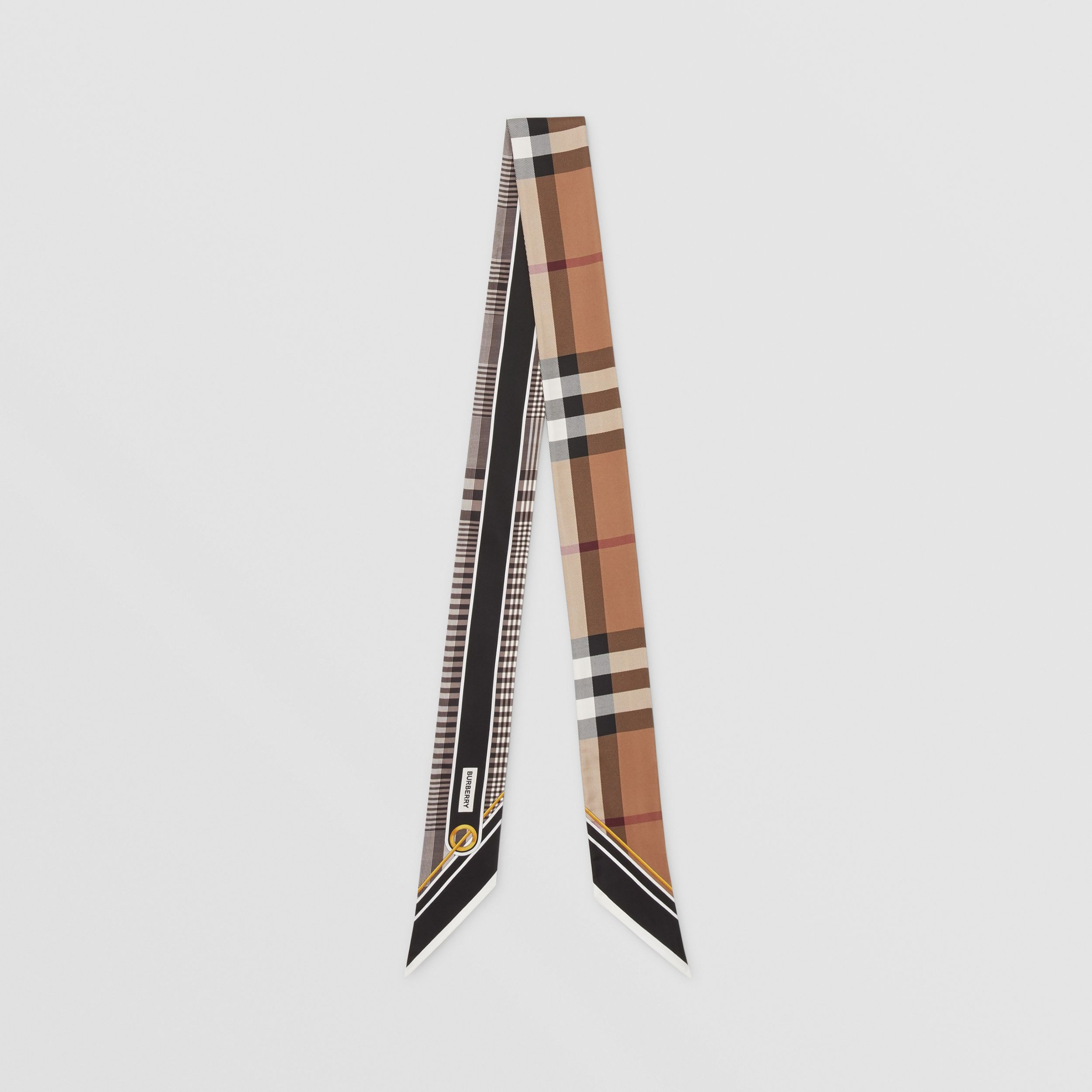 Check Print Silk Skinny Scarf in Black | Burberry - 1