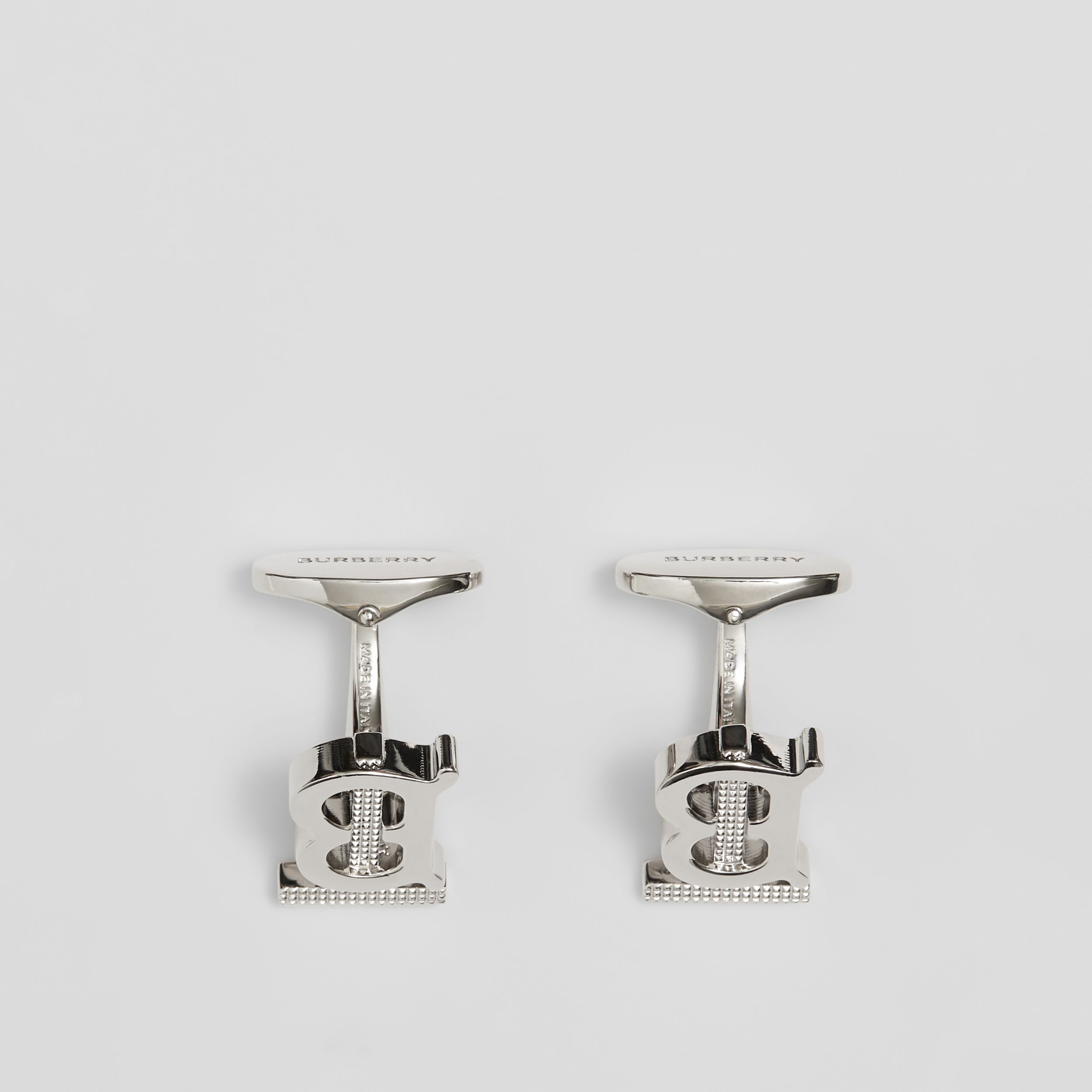 Studded Monogram Motif Palladium-plated Cufflinks - Men | Burberry - 4