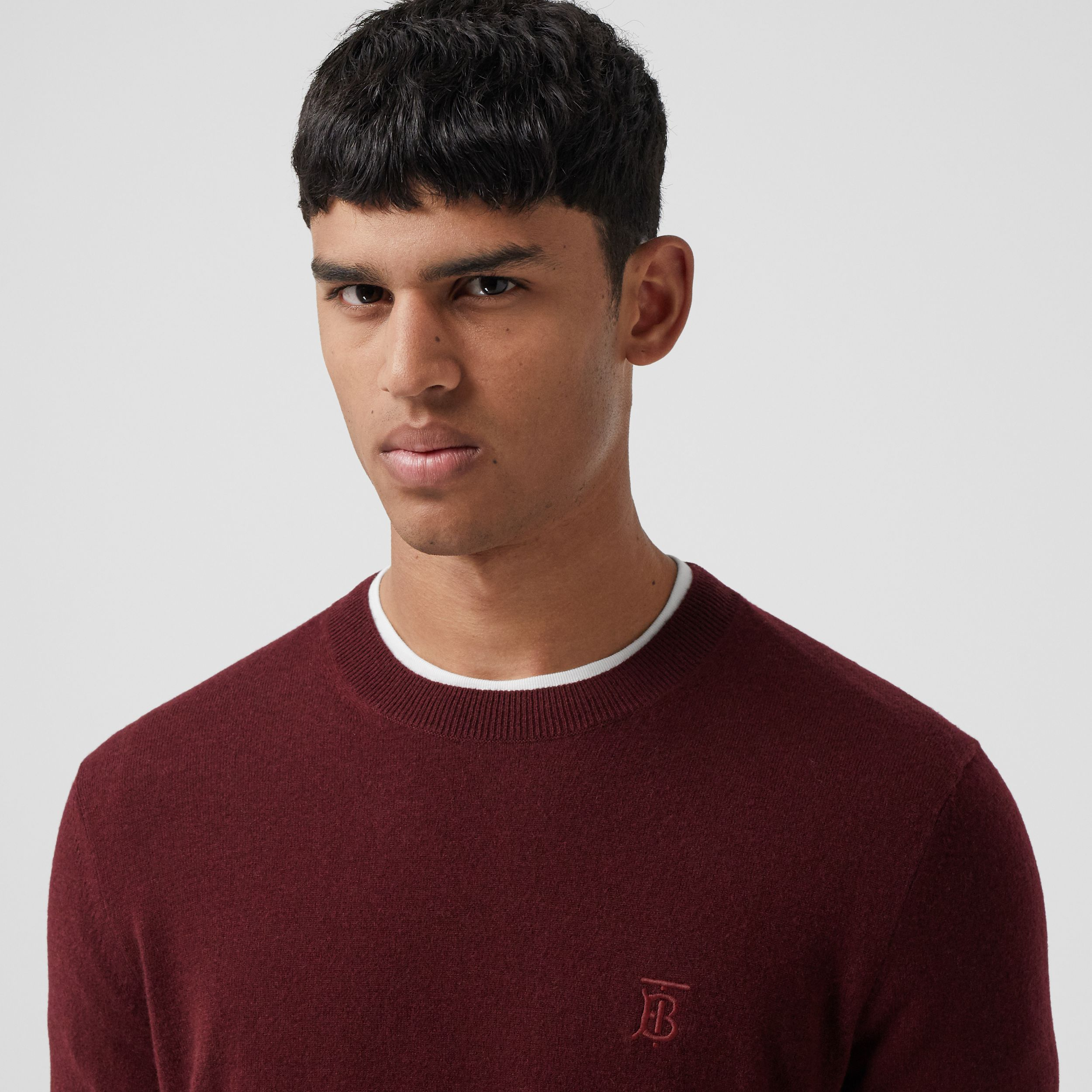 Monogram Motif Cashmere Sweater in Deep Merlot - Men | Burberry - 2