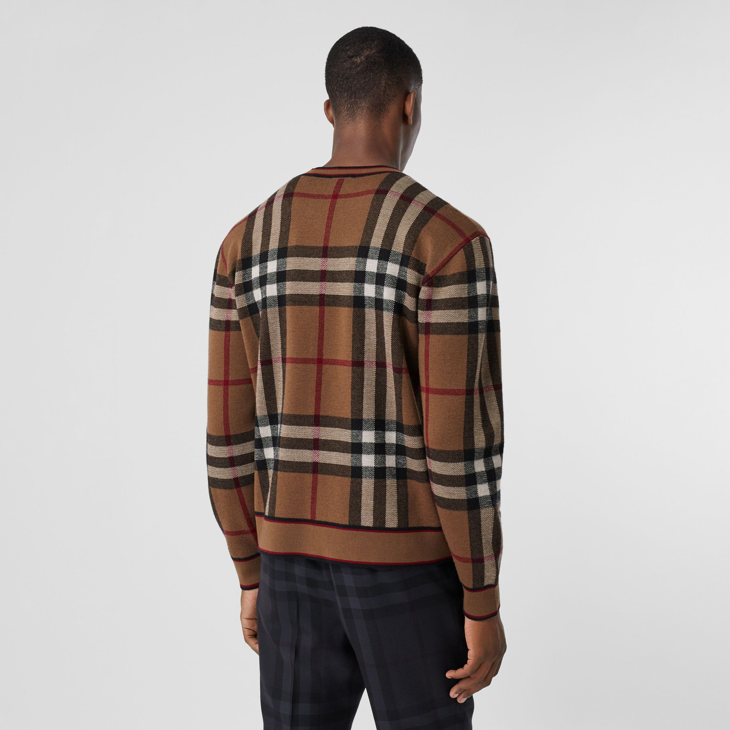 Check Merino Wool Jacquard Sweater in Birch Brown - Men | Burberry - 3